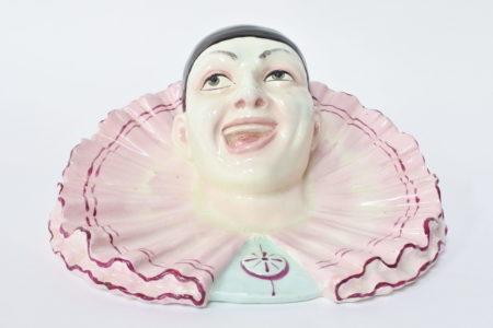 Portafiori da muro in ceramica barbotine a forma di testa di clown