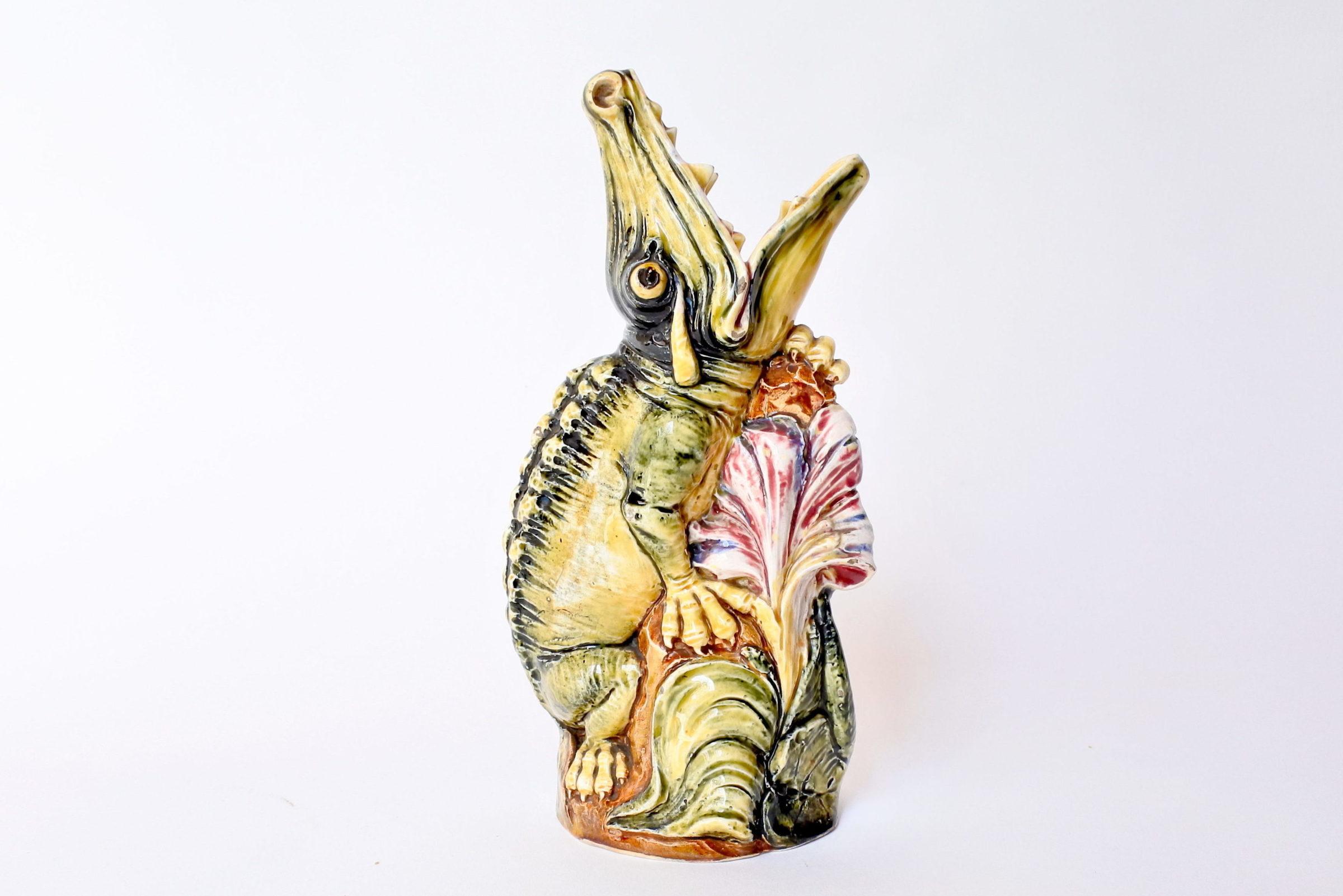 Vaso in ceramica barbotine a forma di coccodrillo - 4