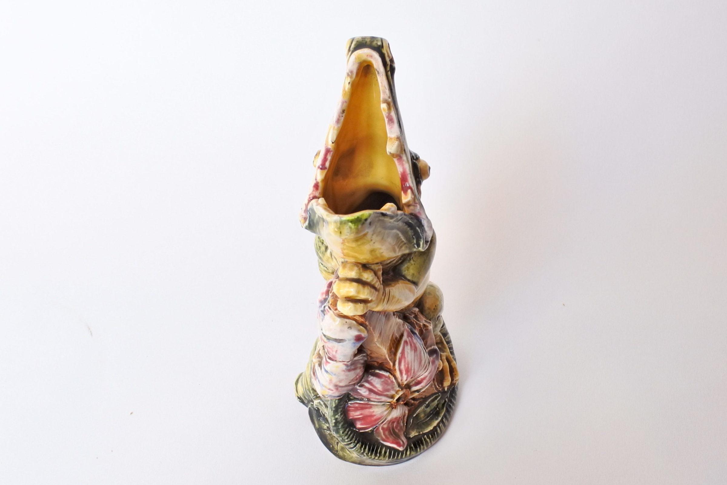 Vaso in ceramica barbotine a forma di coccodrillo - 5