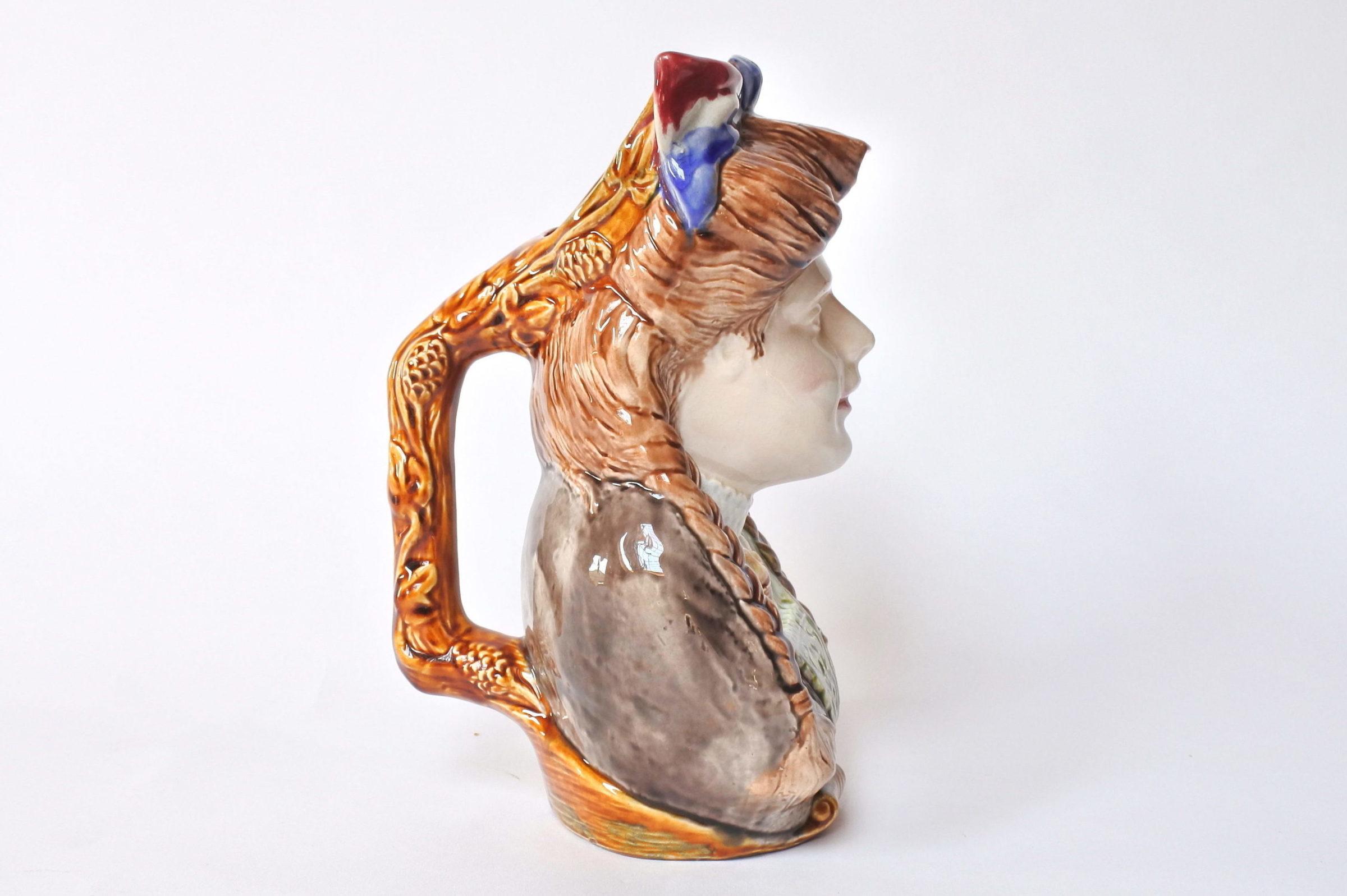 Brocca in ceramica barbotine a forma di volto donna - Onnaing n° 808 - 4