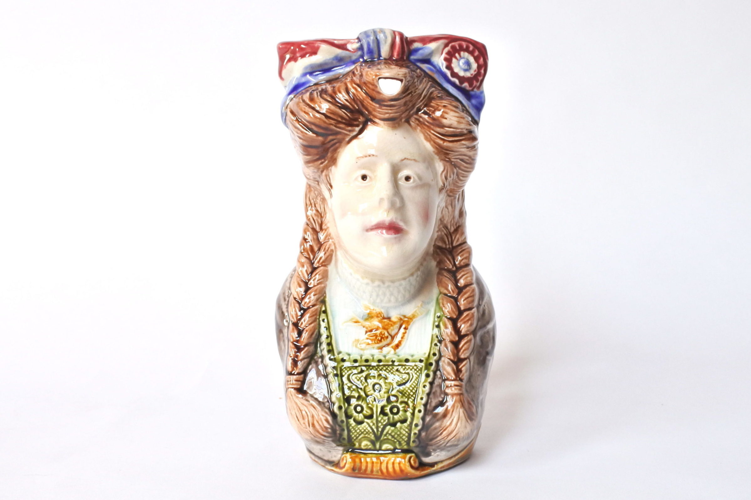Brocca in ceramica barbotine a forma di volto donna - Onnaing n° 808 - 5