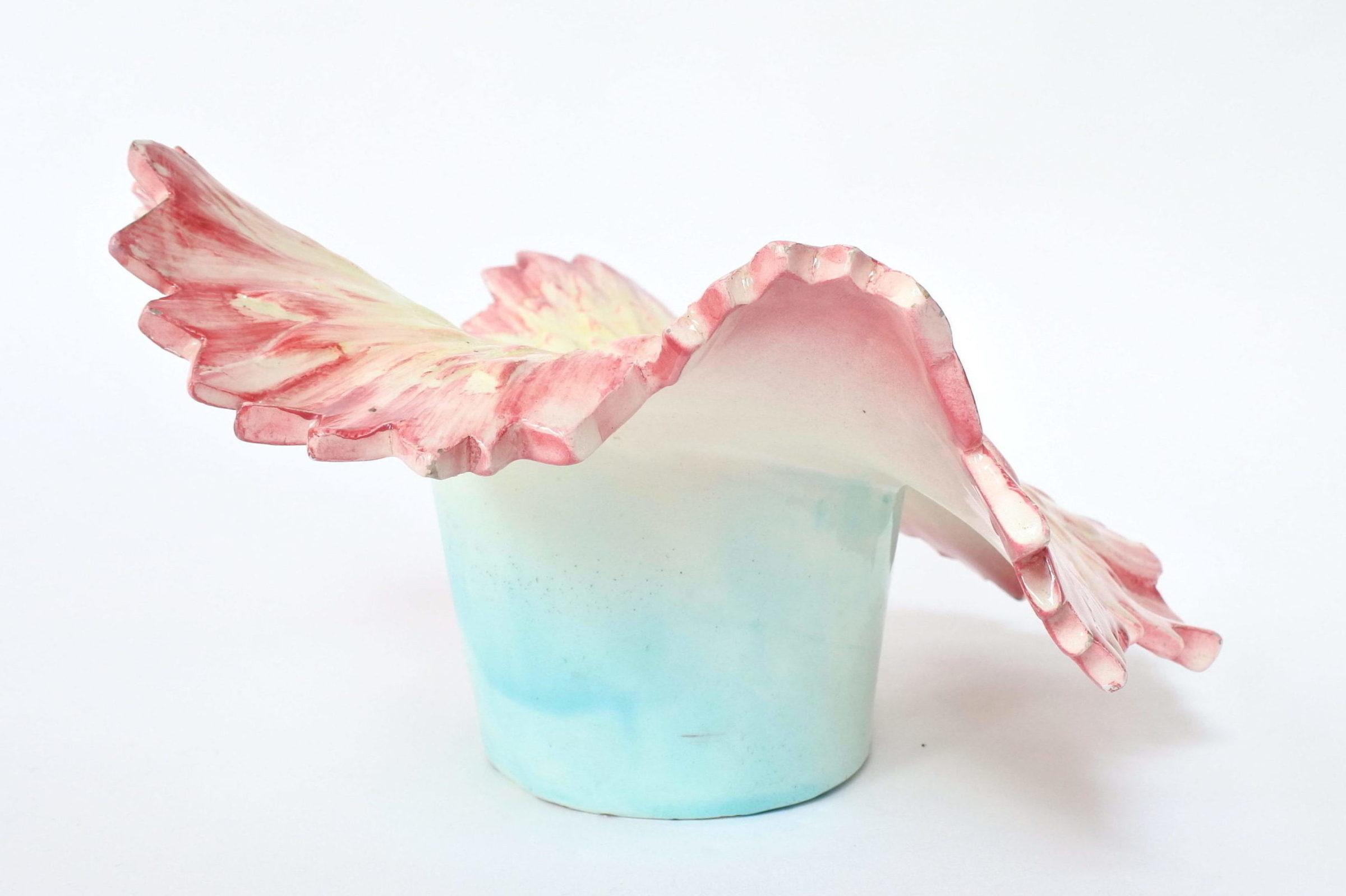Cache pot Massier in ceramica barbotine a forma di dalia - 4