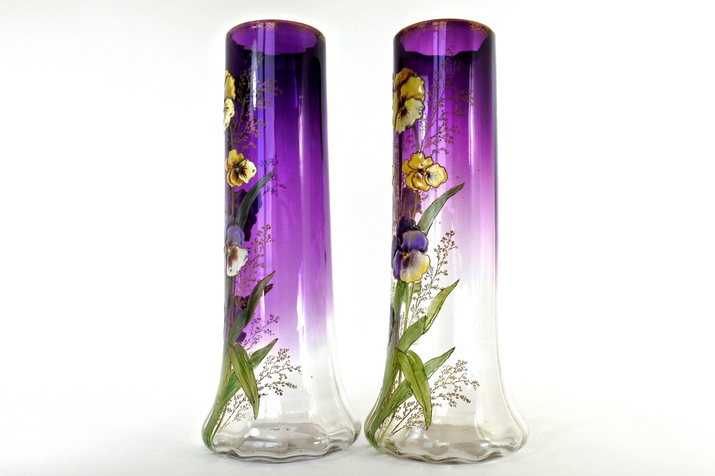 Coppia di vasi Legras in vetro soffiato e smaltato con viole del pensiero - Pensées - 2