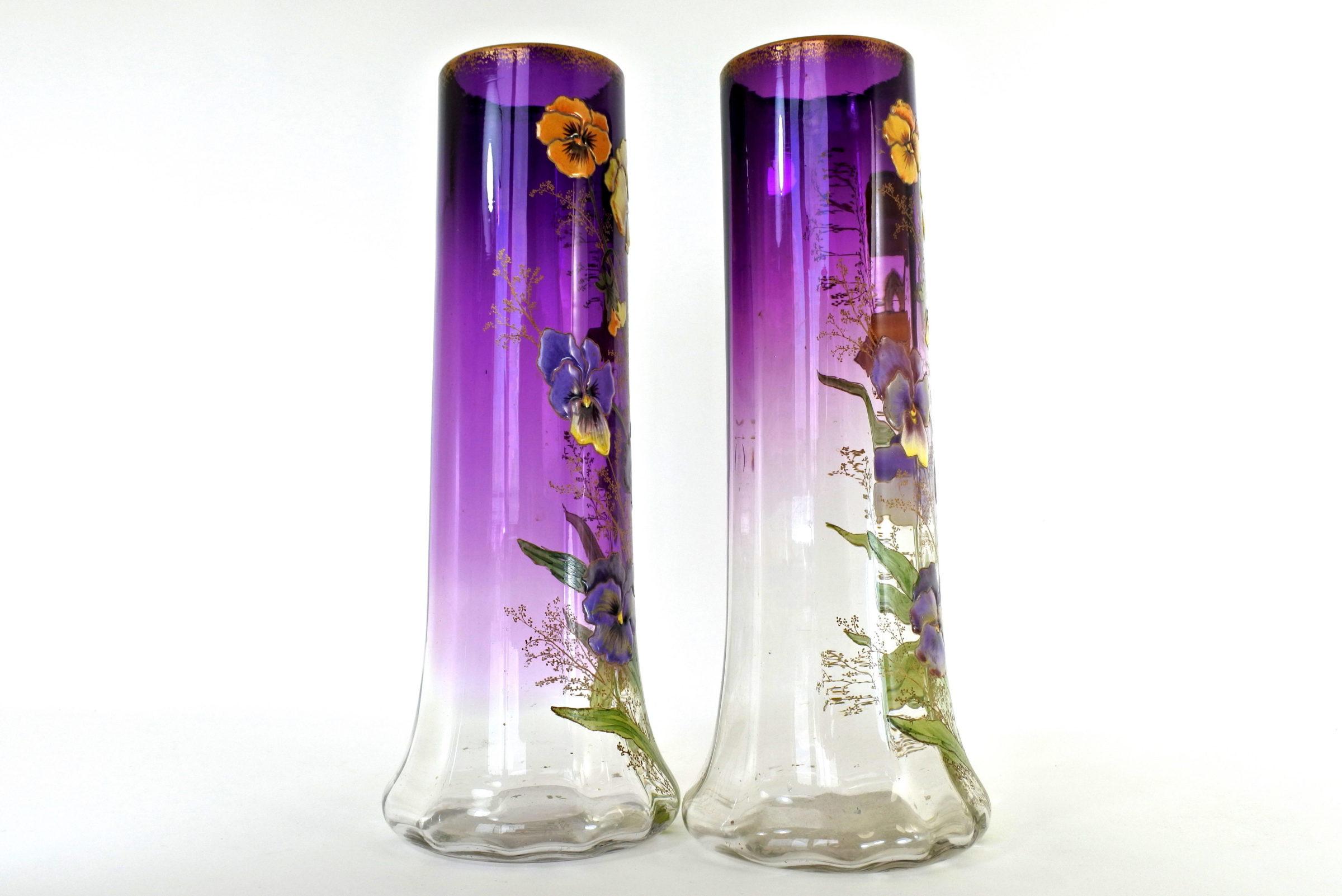 Coppia di vasi Legras in vetro soffiato e smaltato con viole del pensiero - Pensées - 3