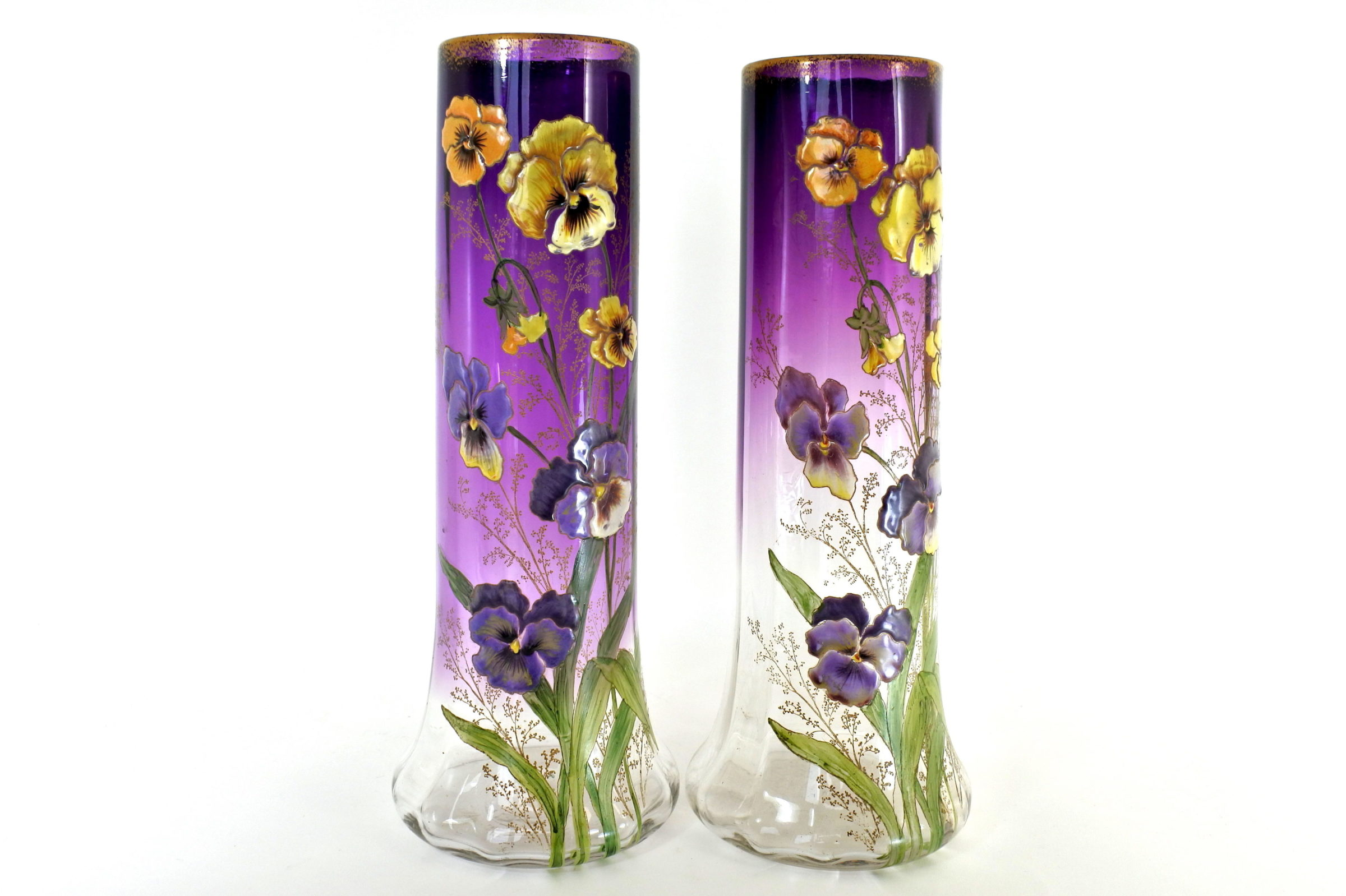 Coppia di vasi Legras in vetro soffiato e smaltato con viole del pensiero - Pensées - 4