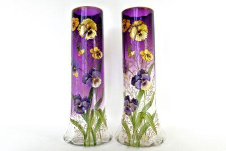 Coppia di vasi Legras in vetro soffiato e smaltato con viole del pensiero - Pensées