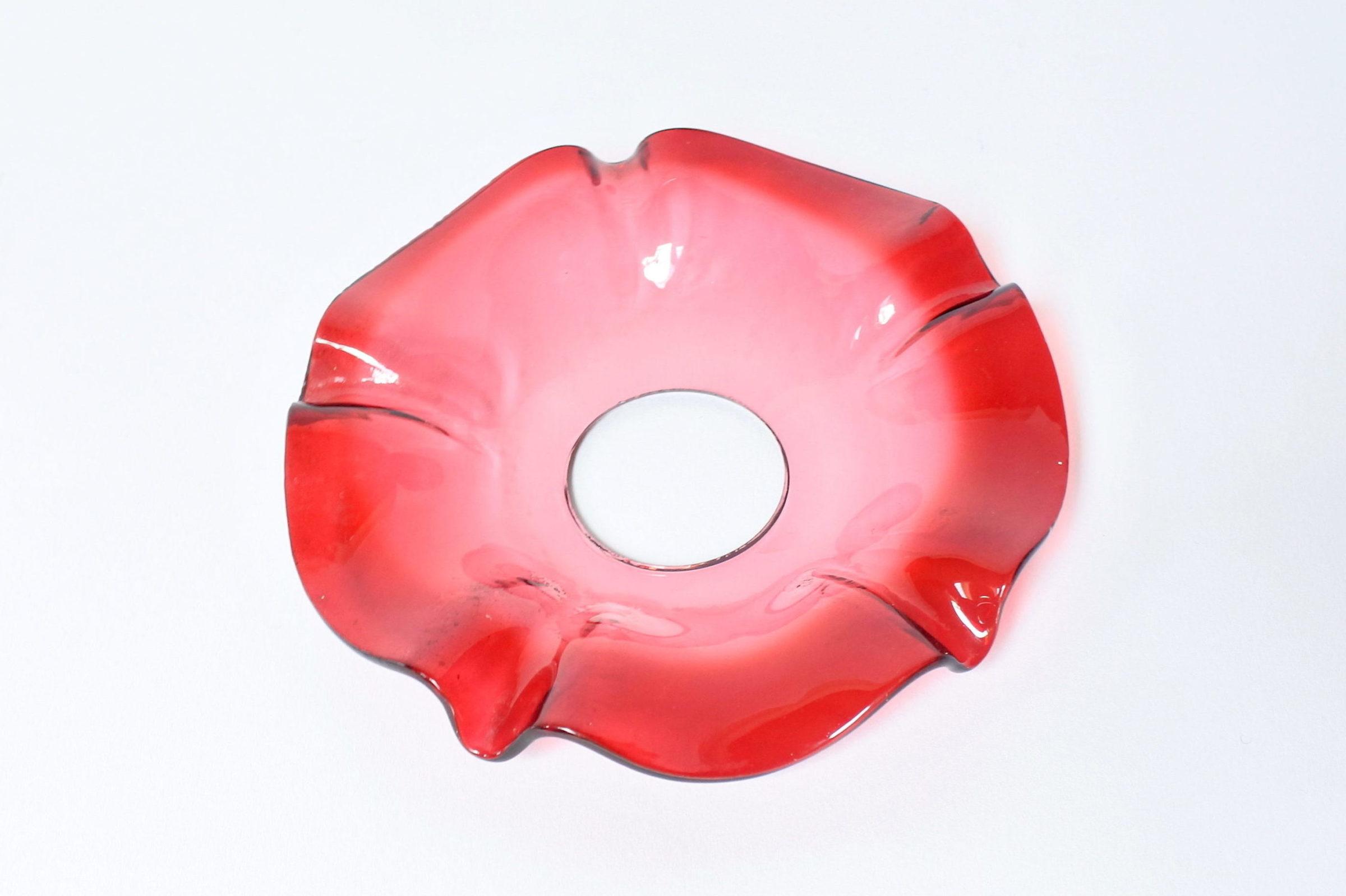 5 bobeches raccoglicera in vetro soffiato rosso - 2