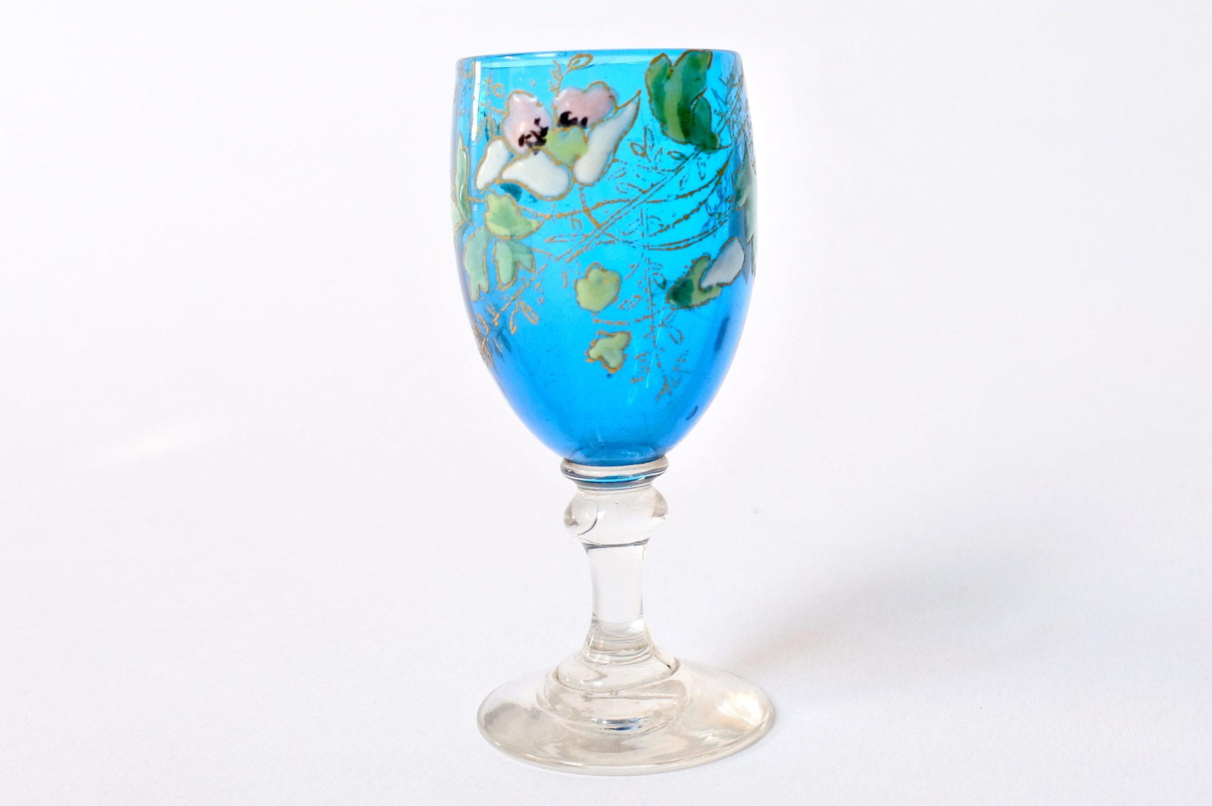 6 bicchierini Legras a calice in vetro soffiato con rami di fiori smaltati - 2