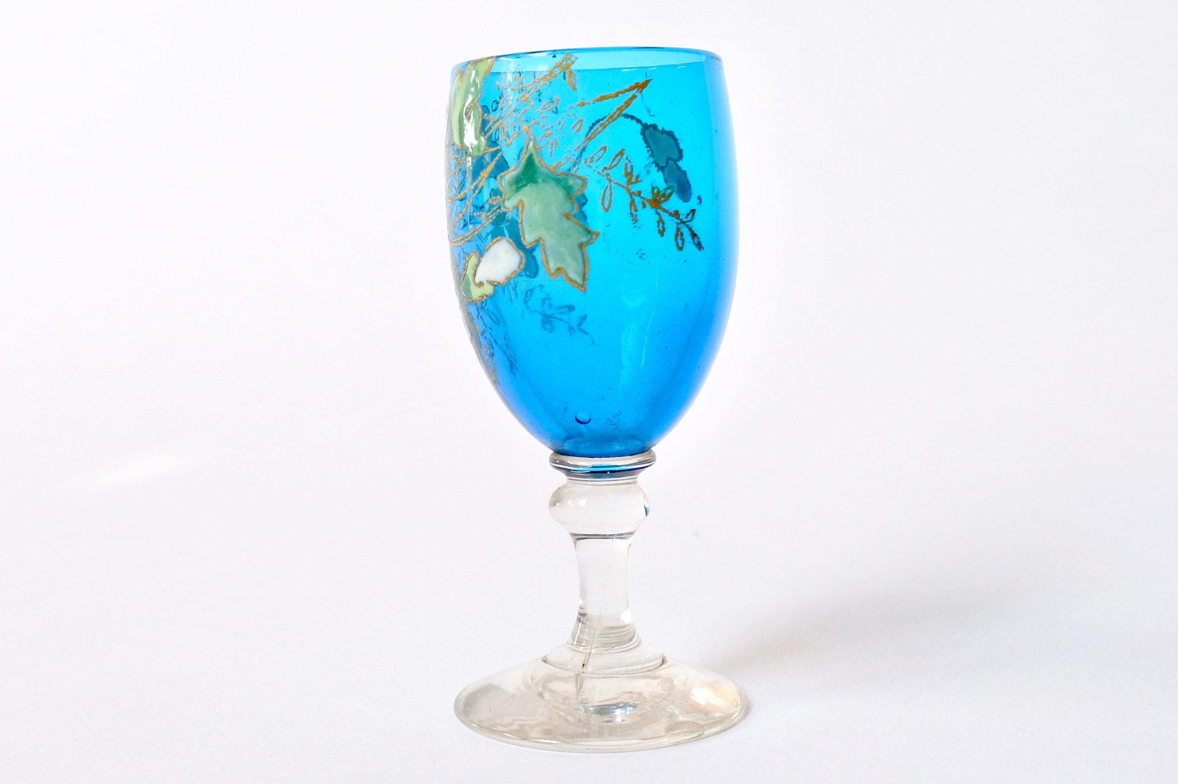 6 bicchierini Legras a calice in vetro soffiato con rami di fiori smaltati - 3