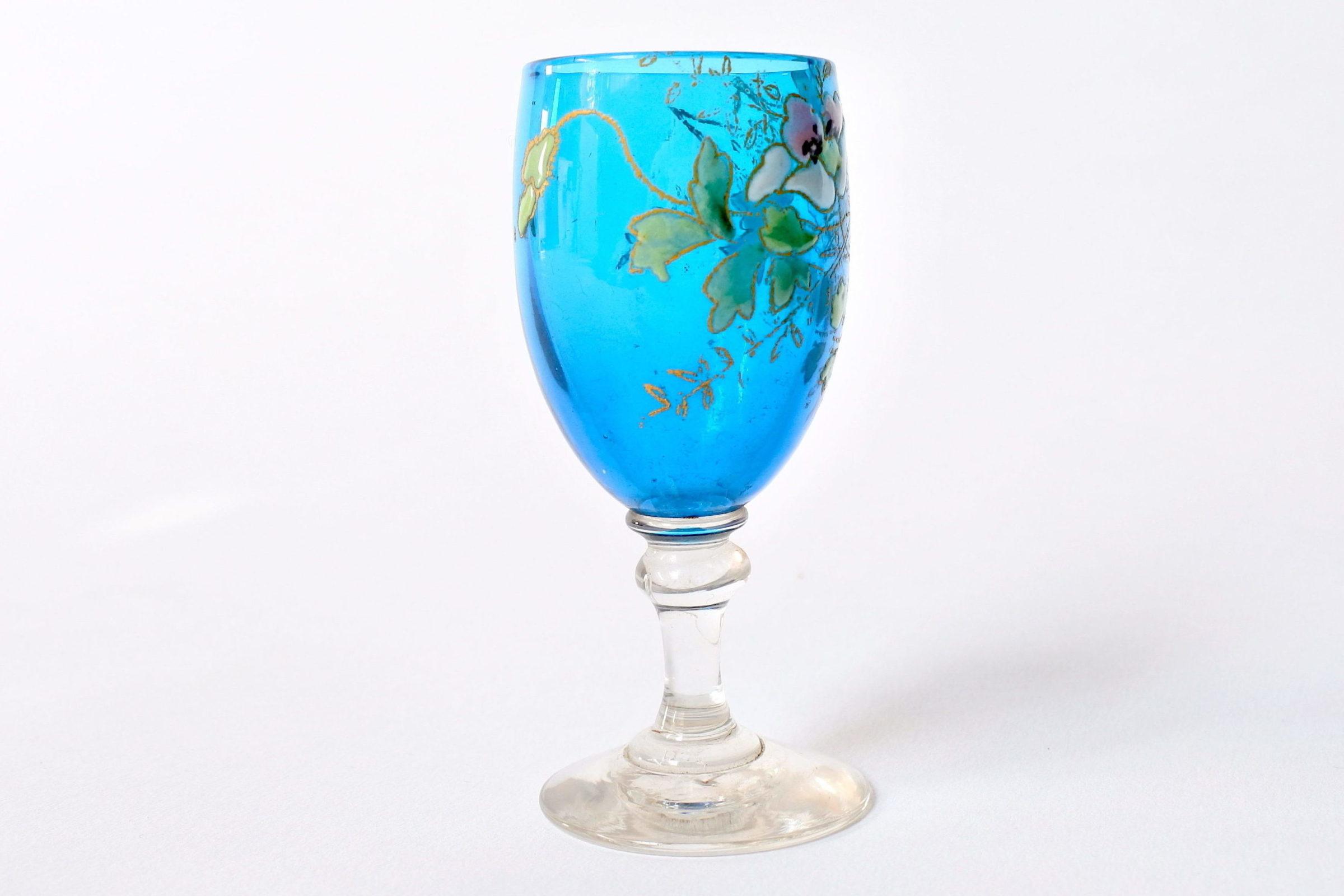 6 bicchierini Legras a calice in vetro soffiato con rami di fiori smaltati - 4