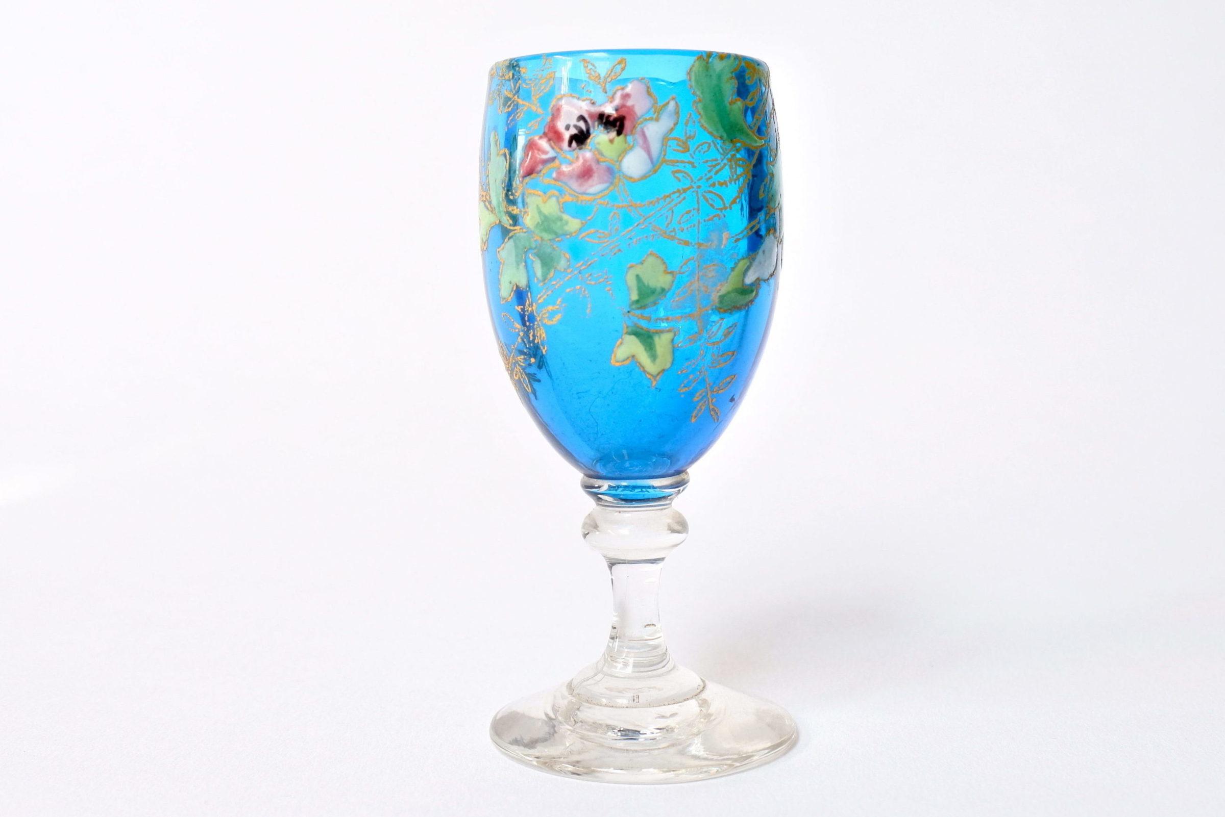 6 bicchierini Legras a calice in vetro soffiato con rami di fiori smaltati - 5