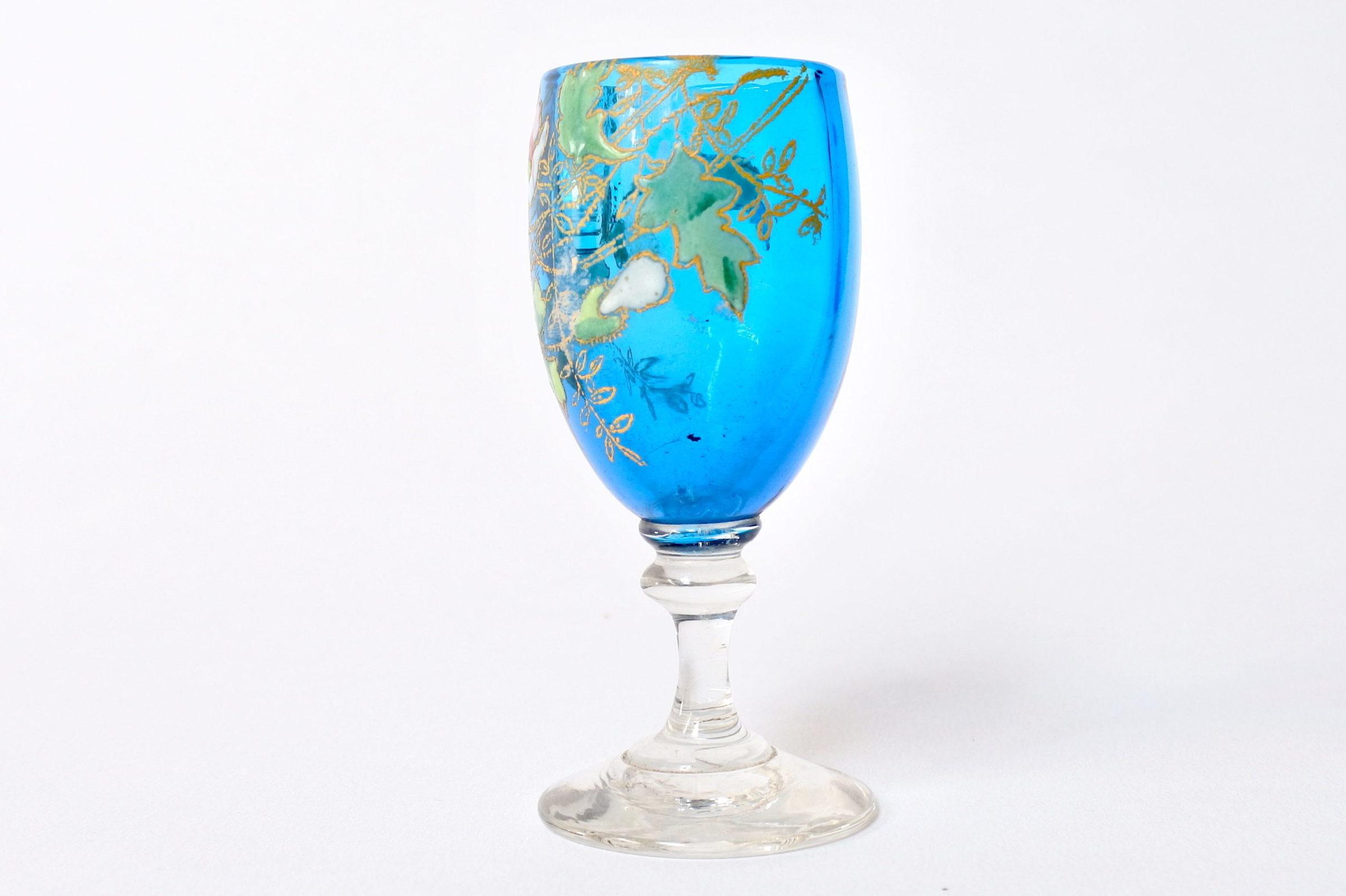 6 bicchierini Legras a calice in vetro soffiato con rami di fiori smaltati - 6