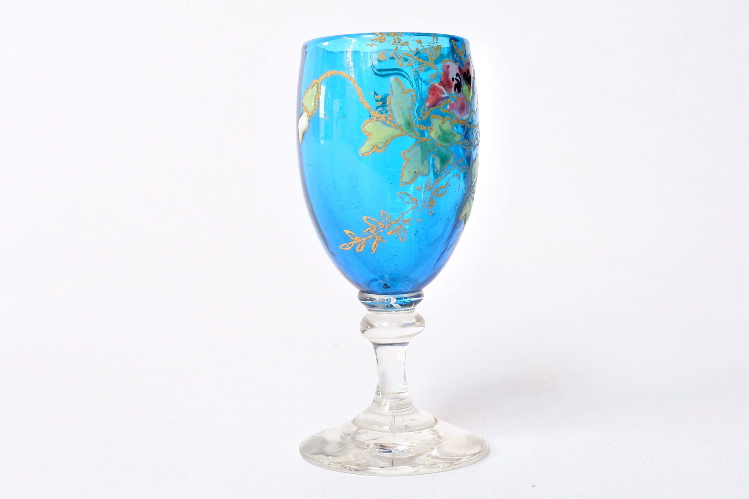 6 bicchierini Legras a calice in vetro soffiato con rami di fiori smaltati - 7