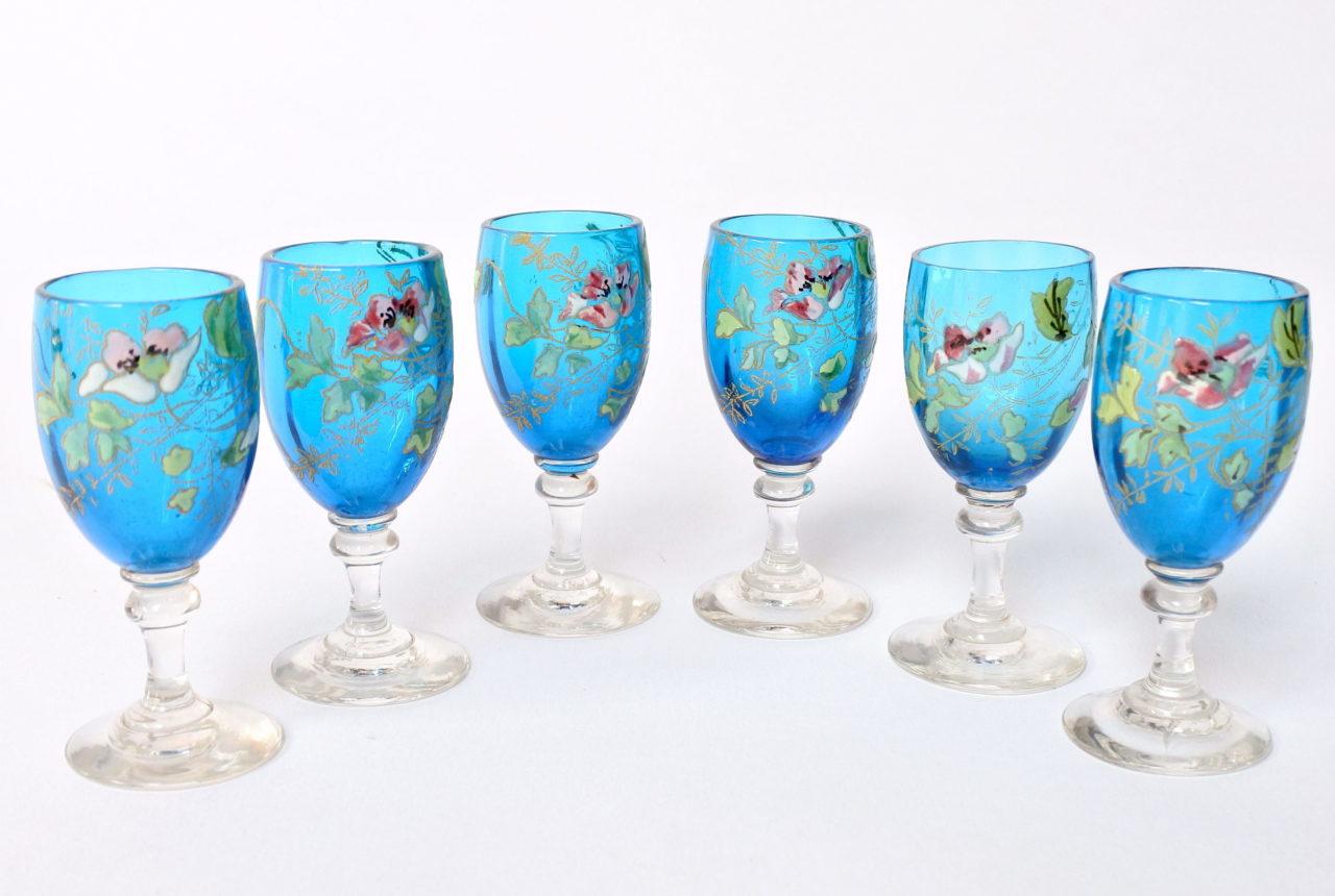 6 bicchierini Legras a calice in vetro soffiato con rami di fiori smaltati