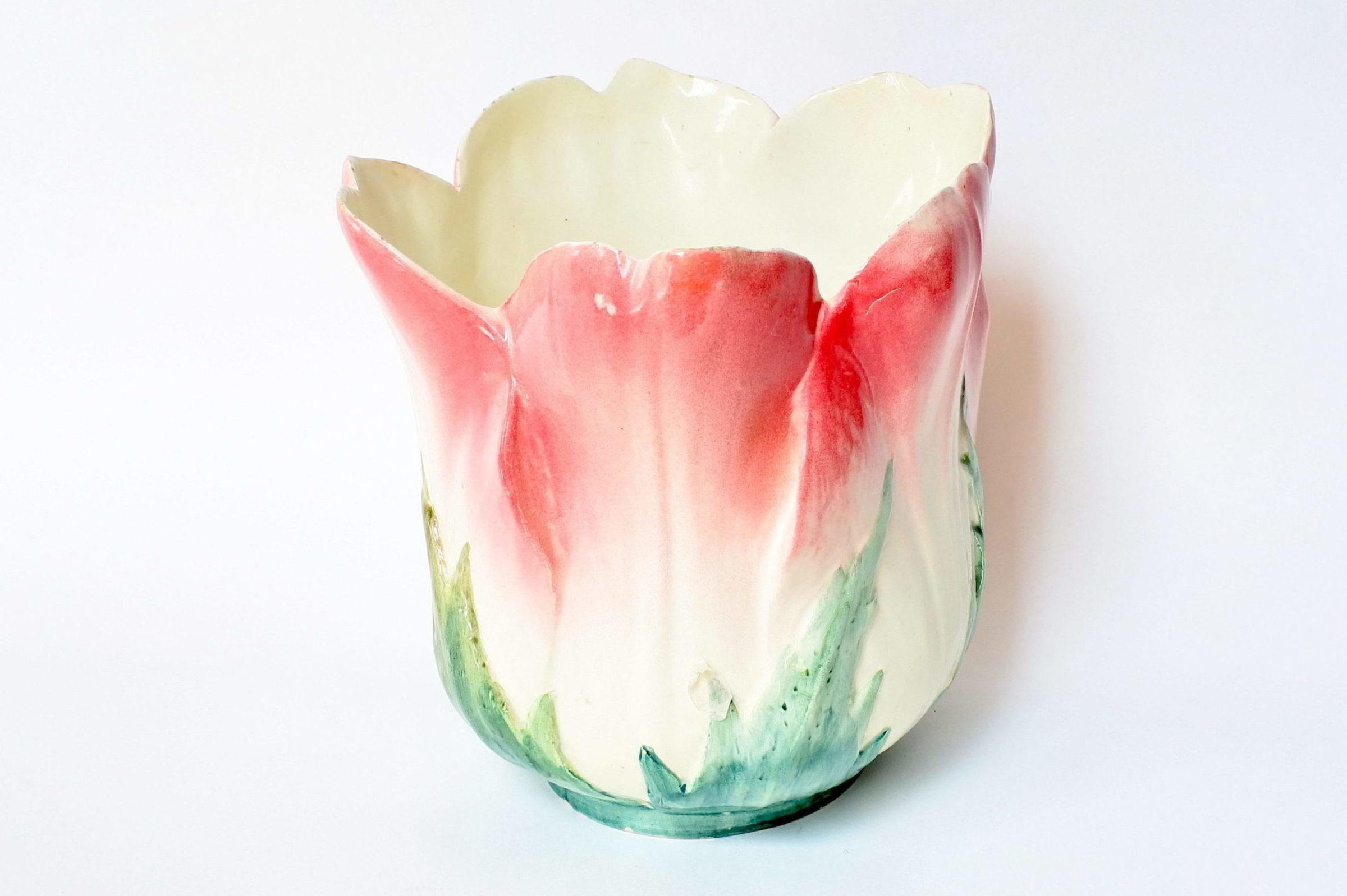 Cache pot Massier in ceramica barbotine a forma di fiore - Delphin Massier - 4