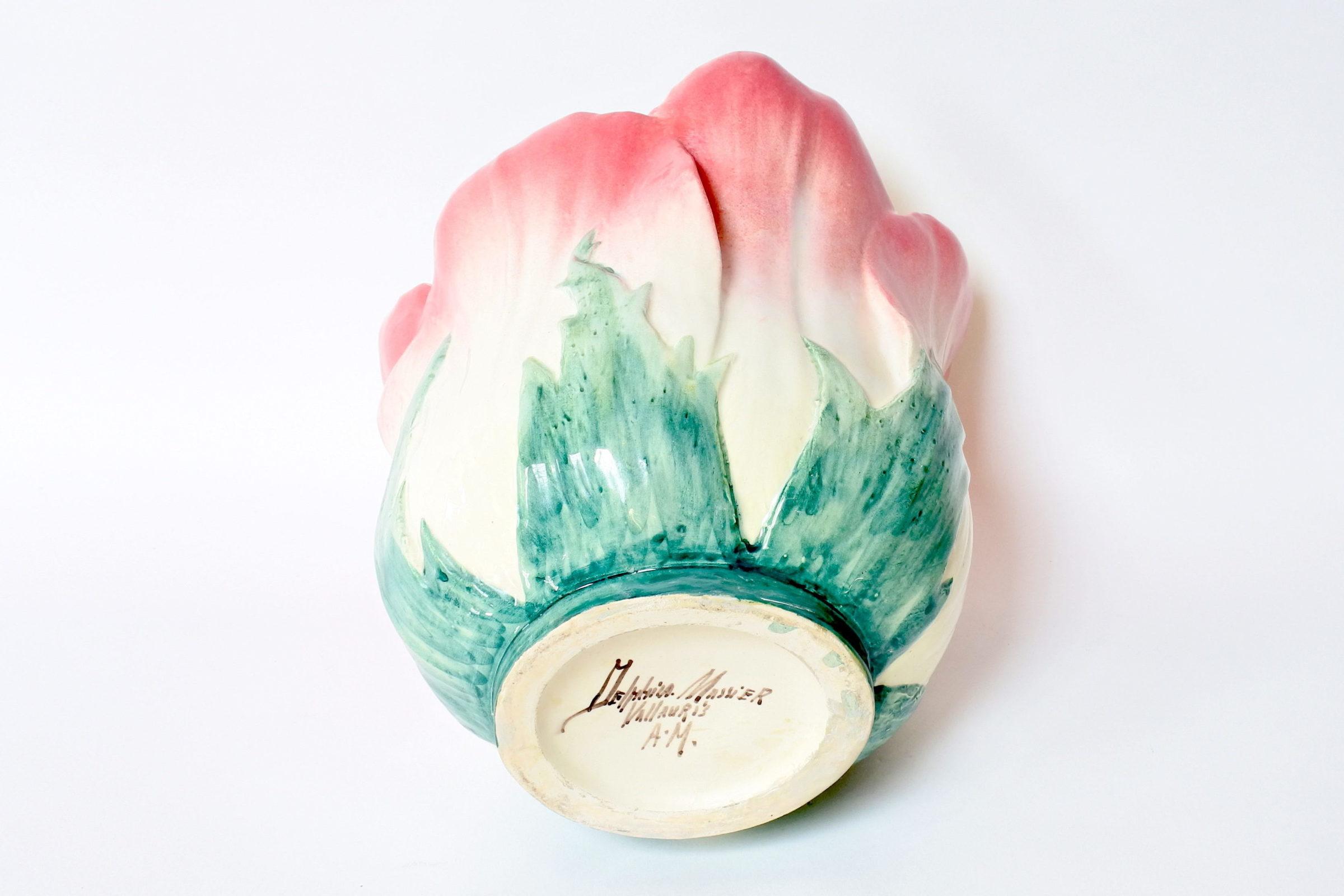 Cache pot Massier in ceramica barbotine a forma di fiore - Delphin Massier - 6
