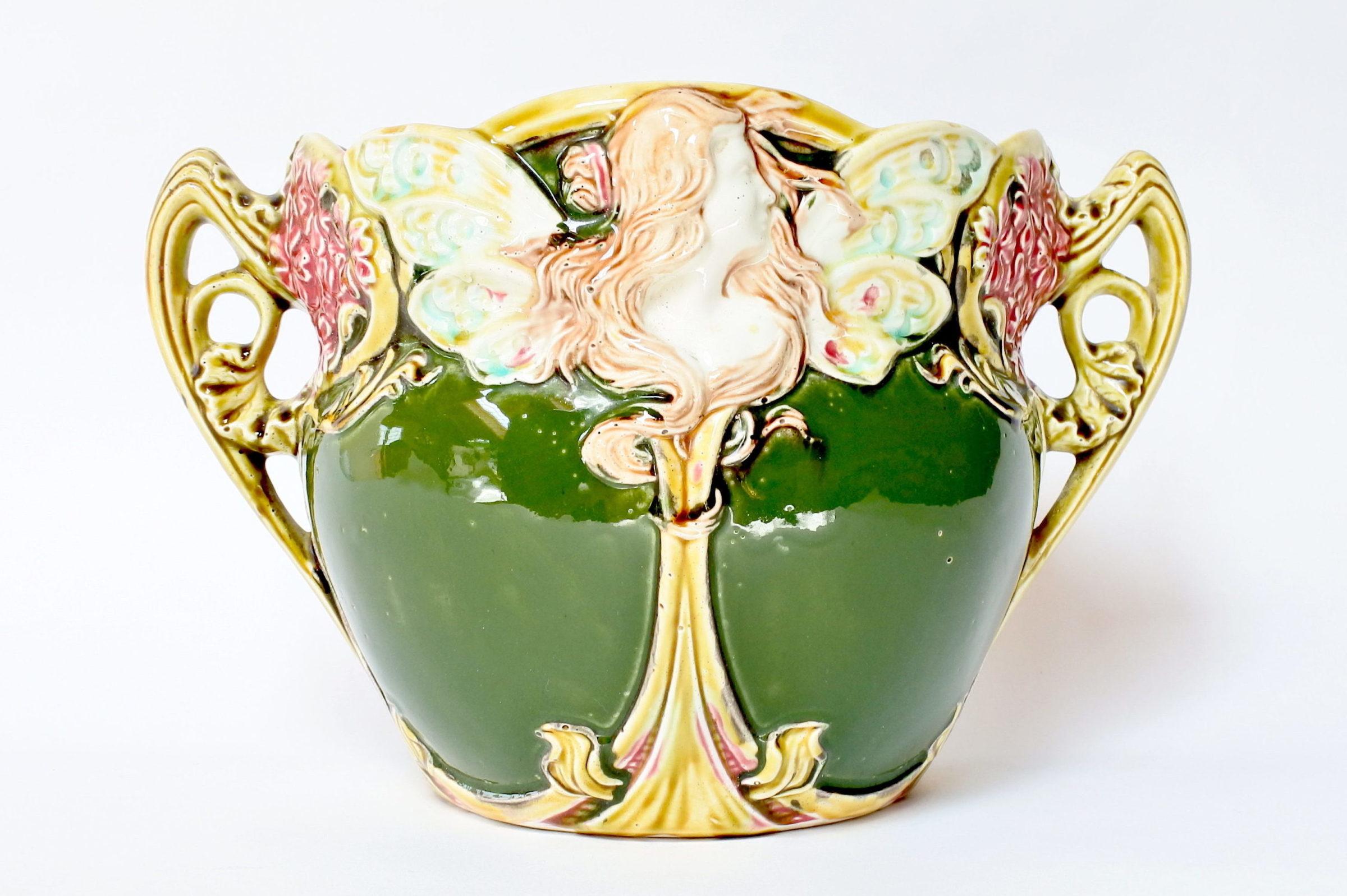 Cache pot in ceramica barbotine decorato con donna alata - Onnaing n° 824 - 3