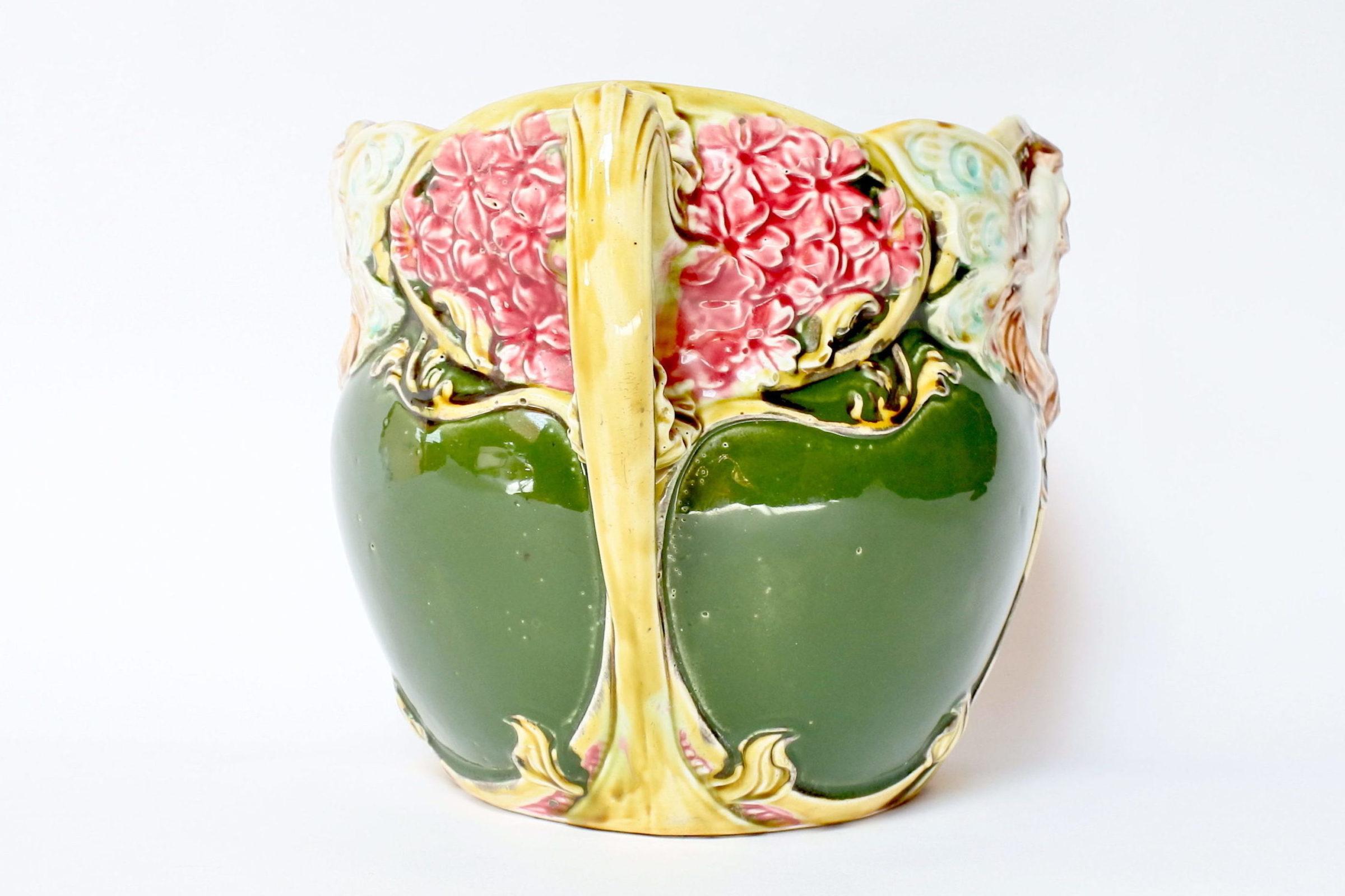 Cache pot in ceramica barbotine decorato con donna alata - Onnaing n° 824 - 4