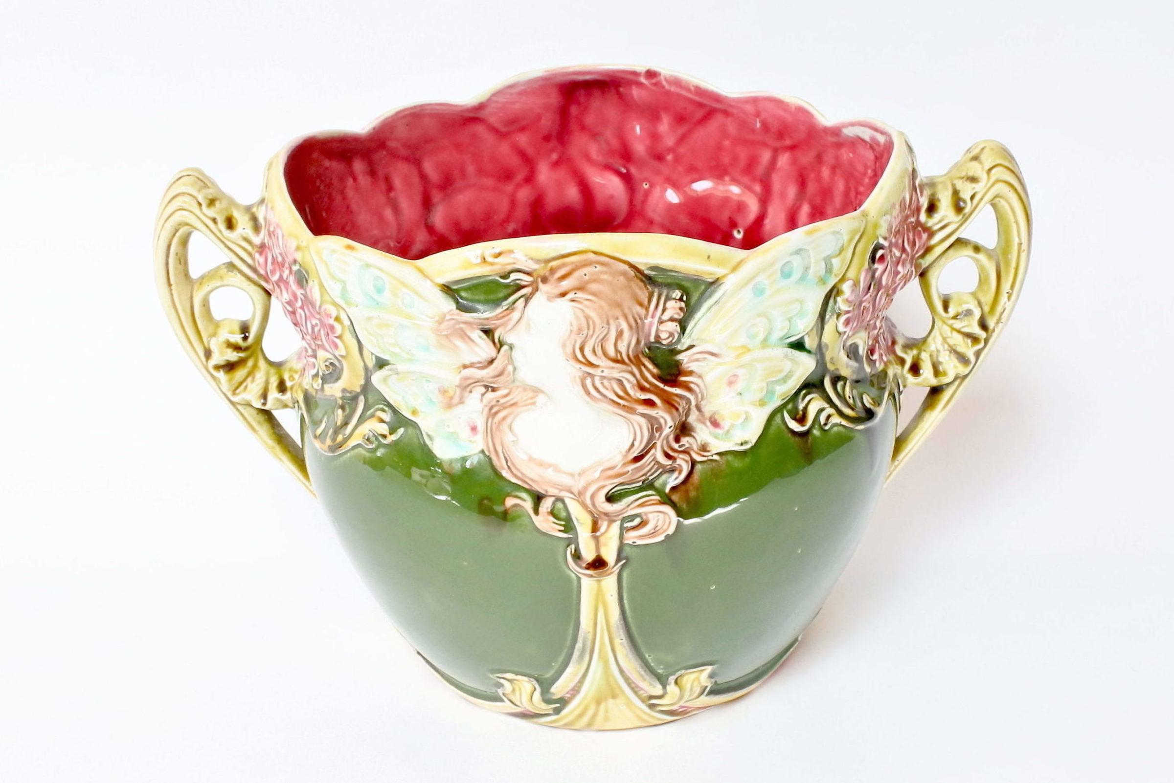 Cache pot in ceramica barbotine decorato con donna alata - Onnaing n° 824 - 5