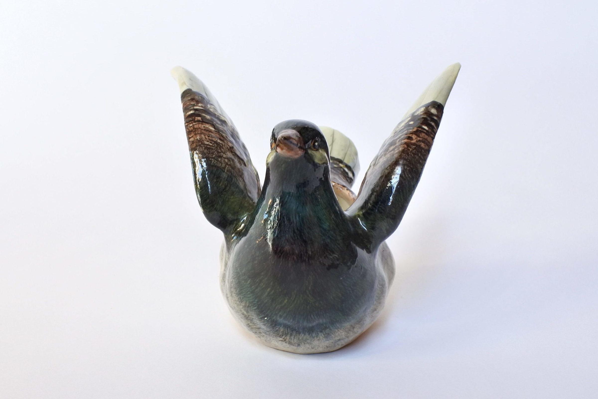 Jardinière Massier in ceramica barbotine a forma di piccione - 5