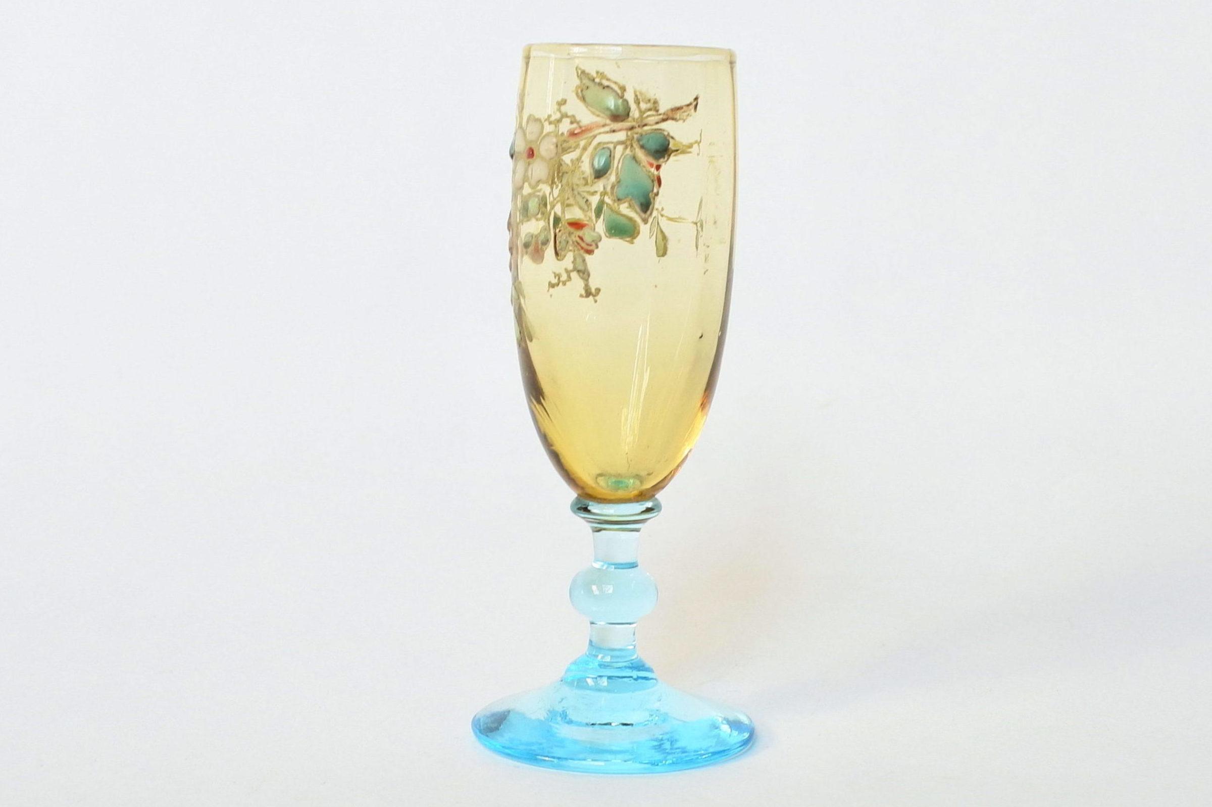 Bicchierino Legras a calice in vetro soffiato giallo con piede azzurro - 2