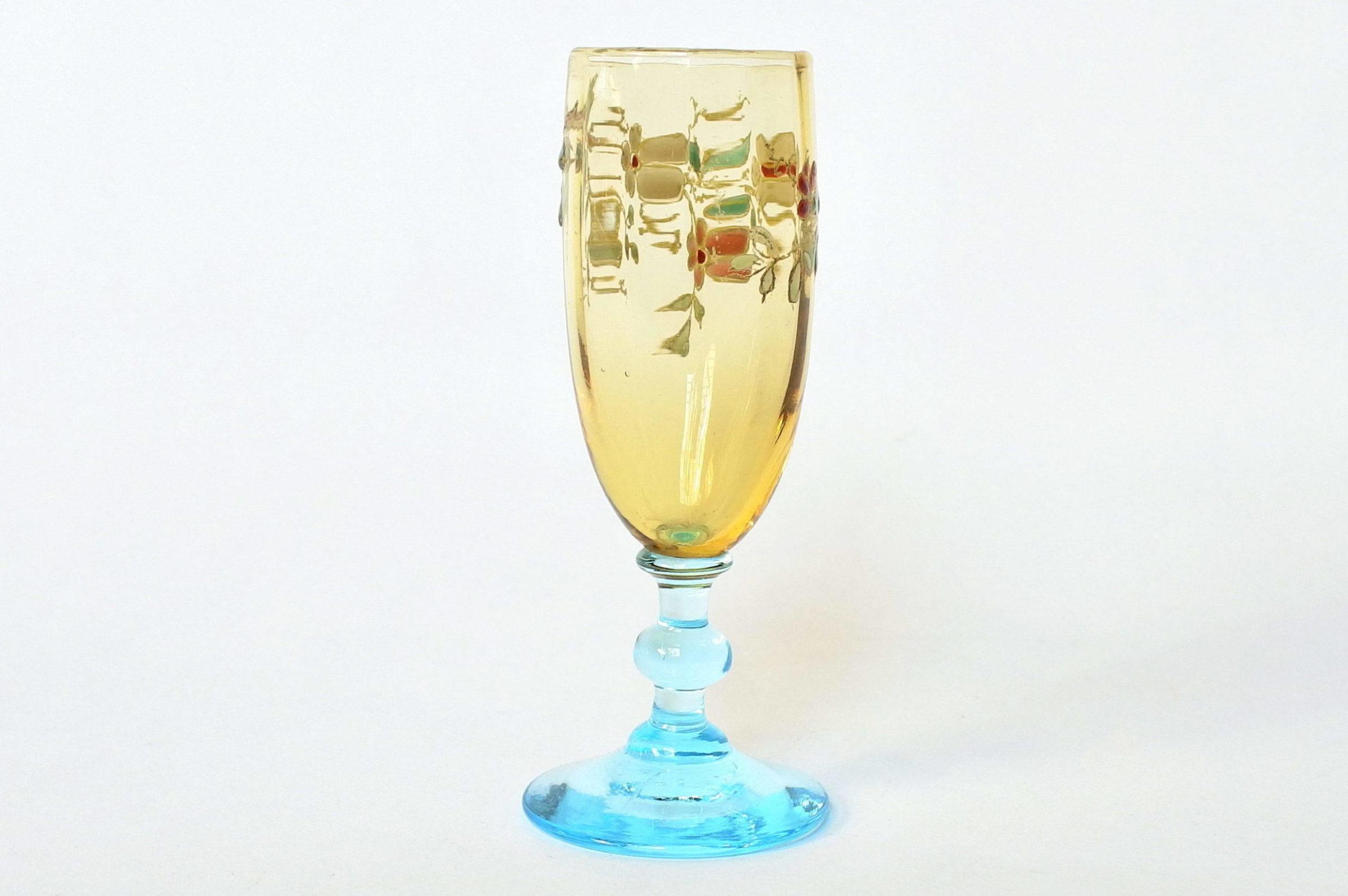 Bicchierino Legras a calice in vetro soffiato giallo con piede azzurro - 3