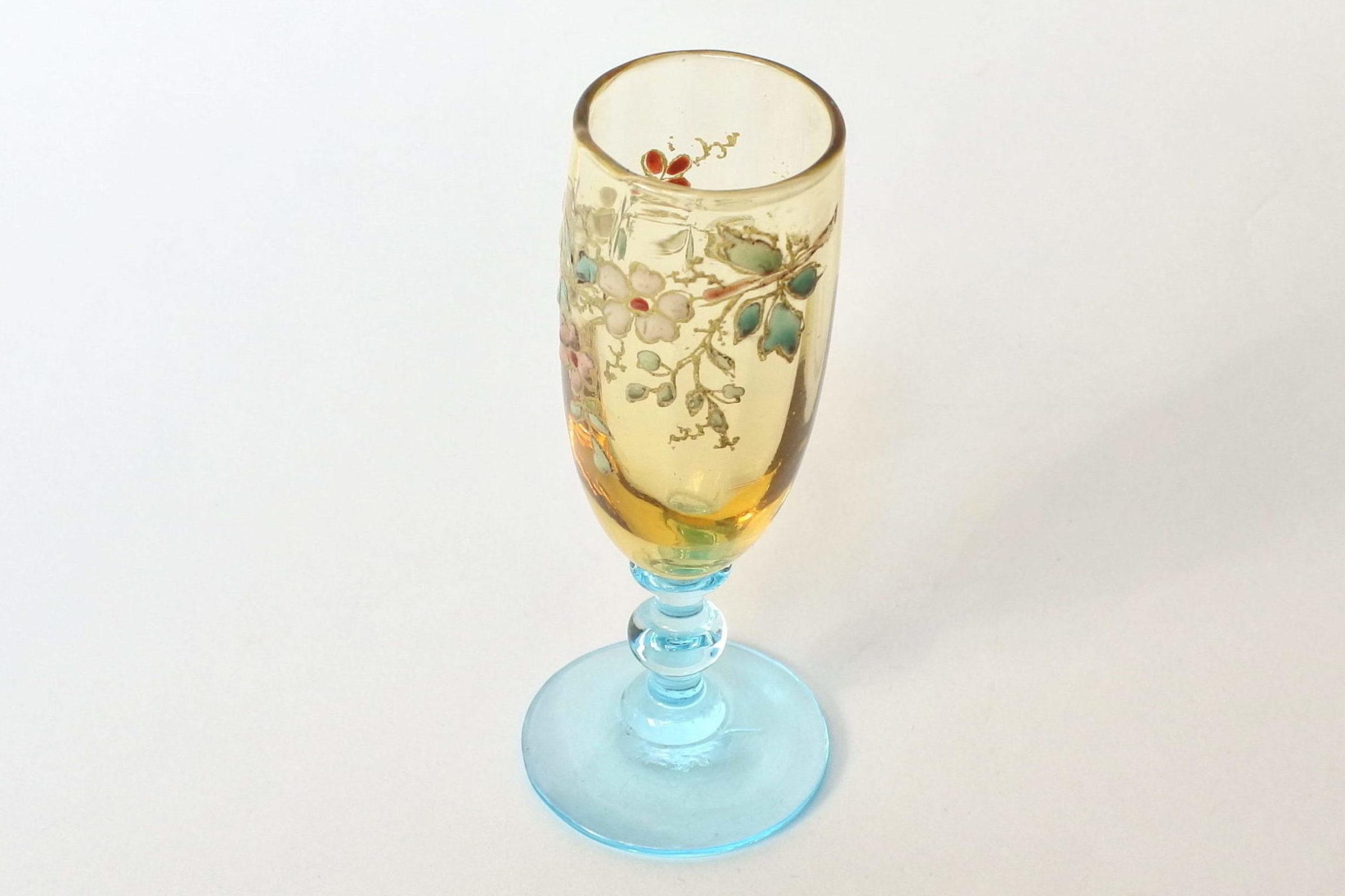 Bicchierino Legras a calice in vetro soffiato giallo con piede azzurro - 4