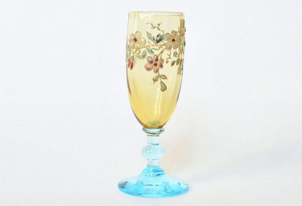 Bicchierino Legras a calice in vetro soffiato giallo con piede azzurro