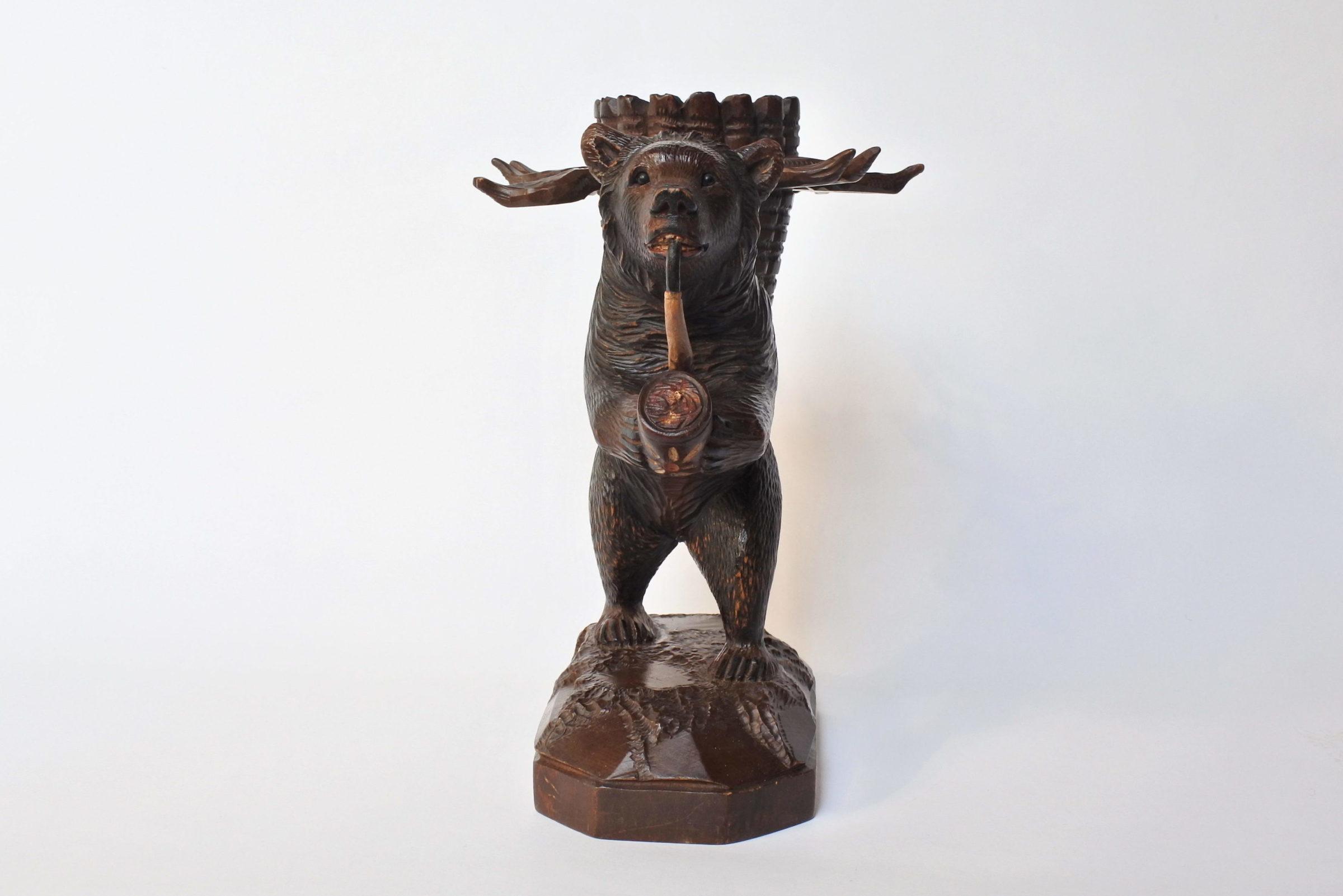 Orso in legno scolpito foresta nera con funzione di portabottiglia e bicchierini - 10