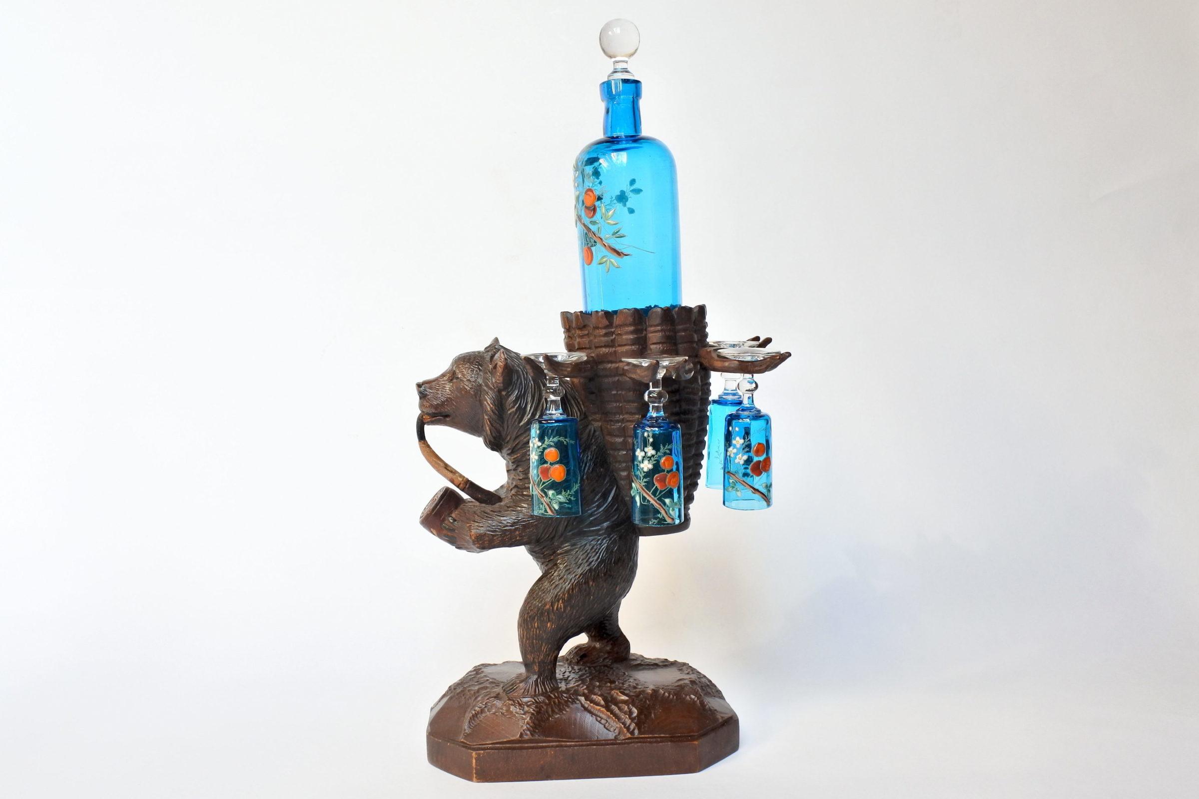 Orso in legno scolpito foresta nera con funzione di portabottiglia e bicchierini - 2