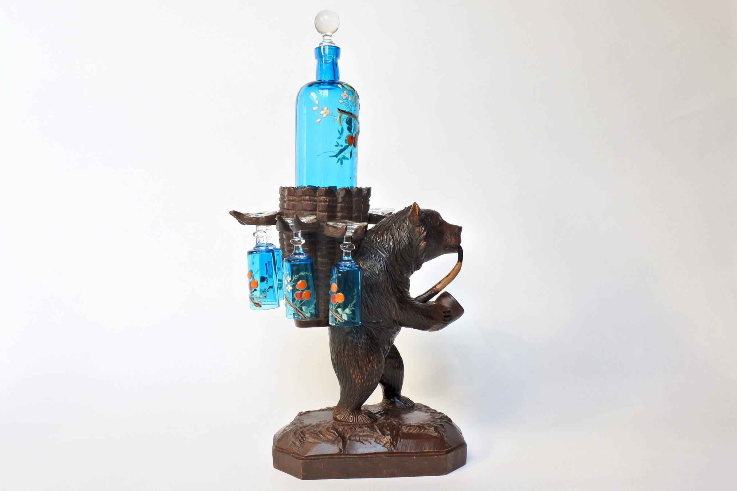 Orso in legno scolpito foresta nera con funzione di portabottiglia e bicchierini - 4