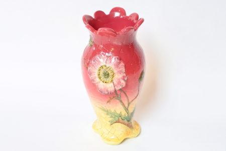 Vaso Massier in ceramica barbotine decorato con anemone e boccioli