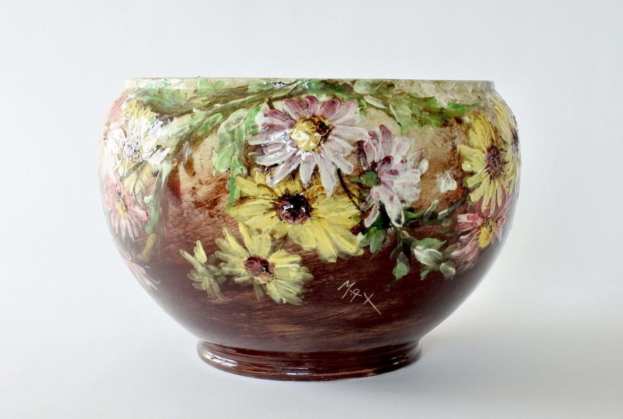 Grande cache pot in ceramica barbotine - Jérôme Massier Fils n° 326
