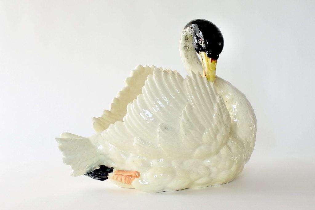 Grande jardinière a forma di cigno in ceramica barbotine - Massier - 5