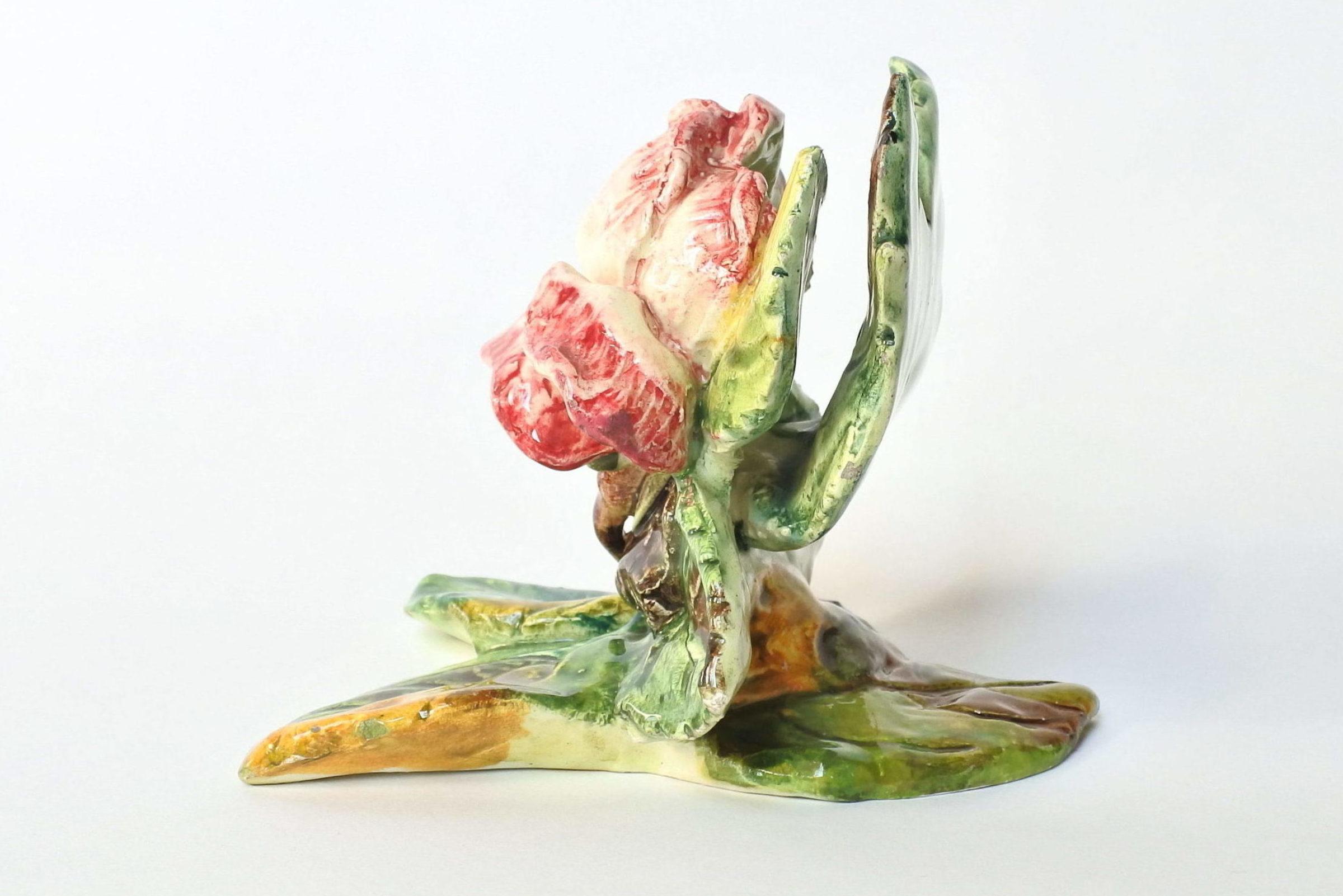 Porta menu o segnaposto in ceramica barbotine a forma di rosa - Massier - 2