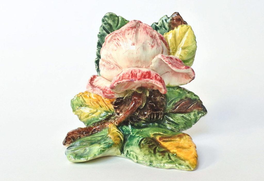 Porta menu o segnaposto in ceramica barbotine a forma di rosa - Massier