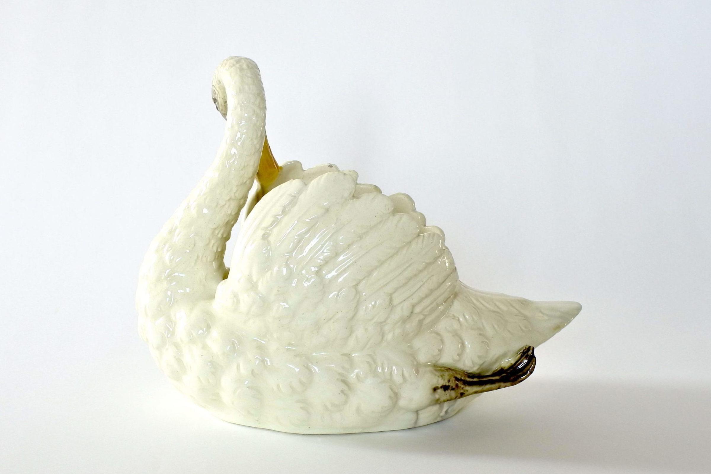 Cigno in ceramica barbotine con funzione di jardinière - Jérôme Massier Fils - 2