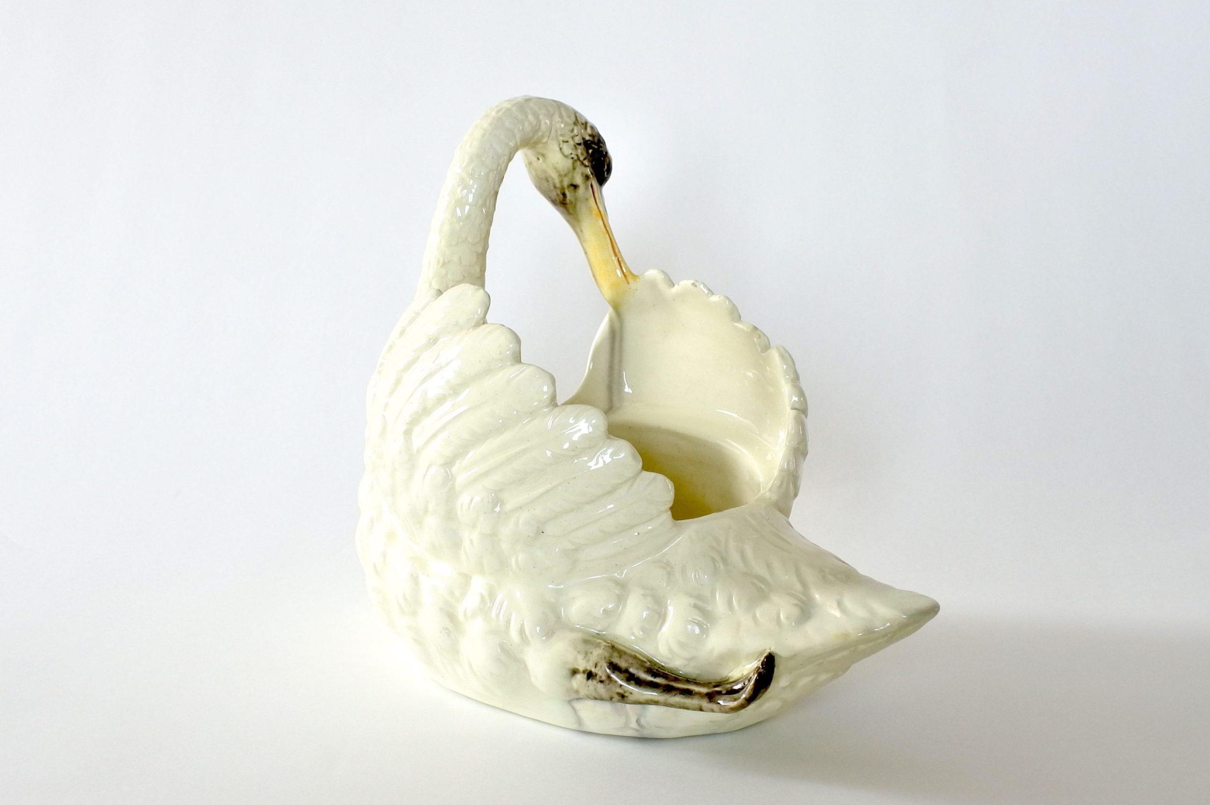 Cigno in ceramica barbotine con funzione di jardinière - Jérôme Massier Fils - 3