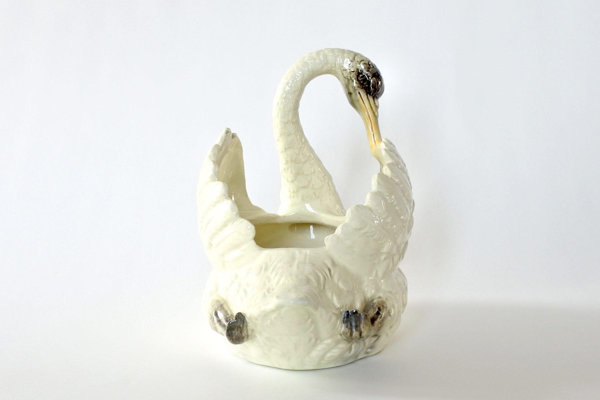 Cigno in ceramica barbotine con funzione di jardinière - Jérôme Massier Fils - 4