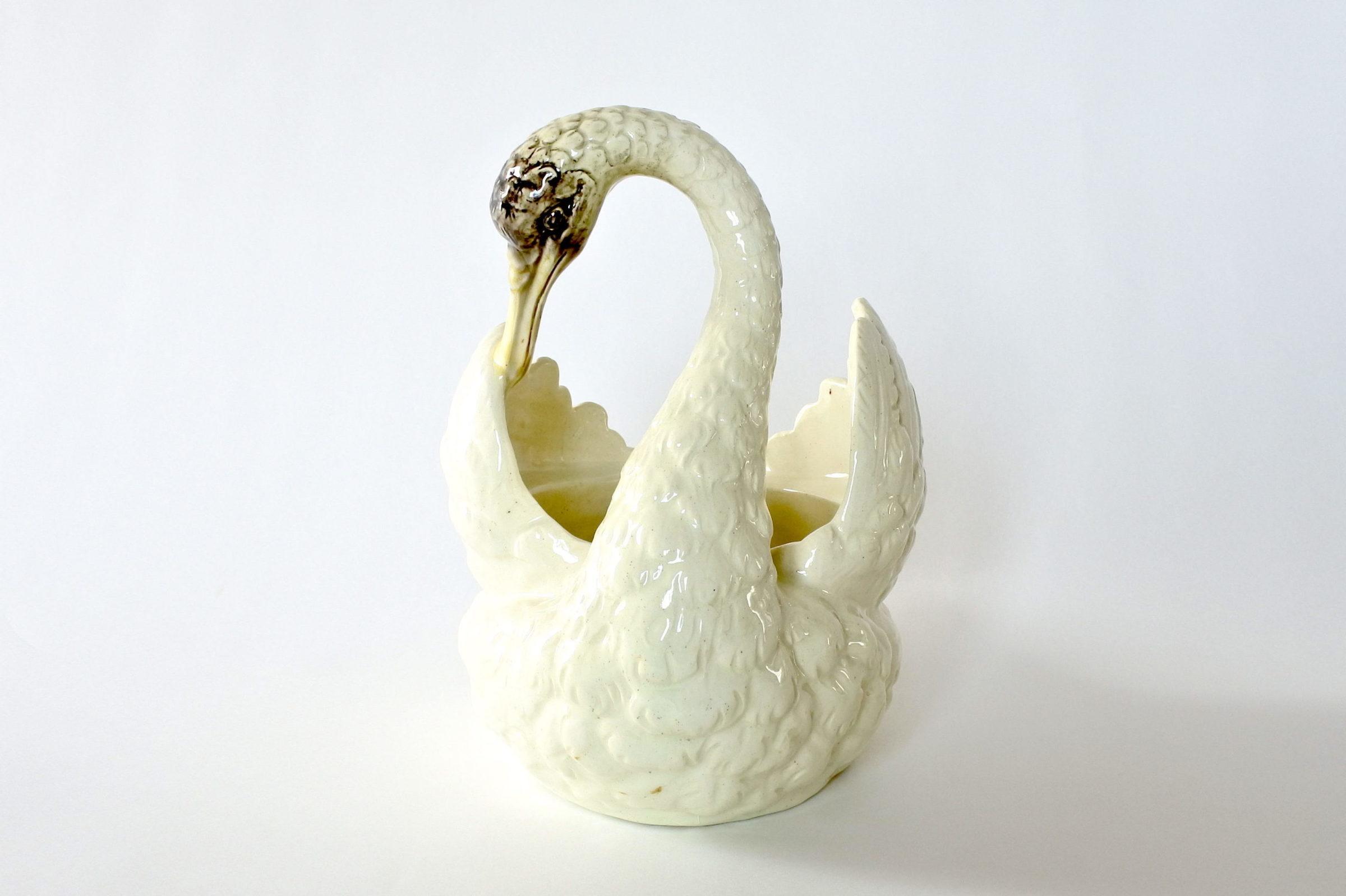 Cigno in ceramica barbotine con funzione di jardinière - Jérôme Massier Fils - 6