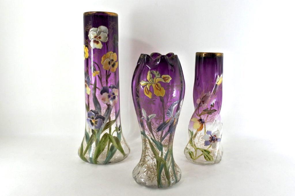 Vasi in vetro soffiato ed in vetro opaline antichi e di antiquariato