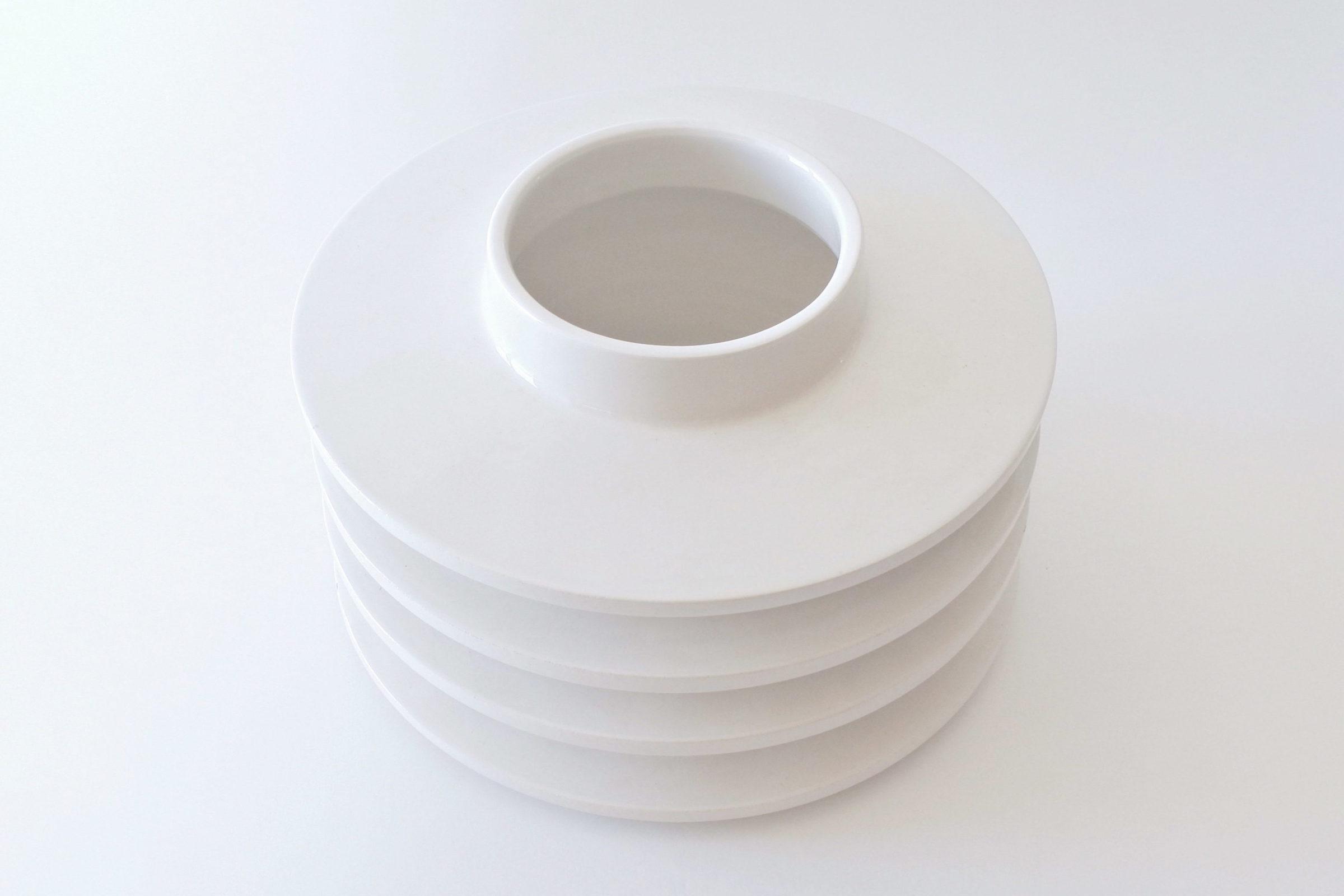 Vaso isolatore in ceramica bianca - E. Sottsass per ceramiche Bitossi - 2