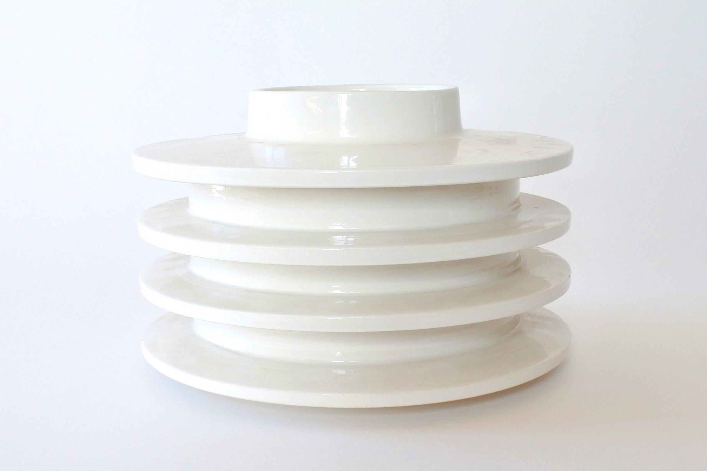 Vaso isolatore in ceramica bianca - E. Sottsass per ceramiche Bitossi