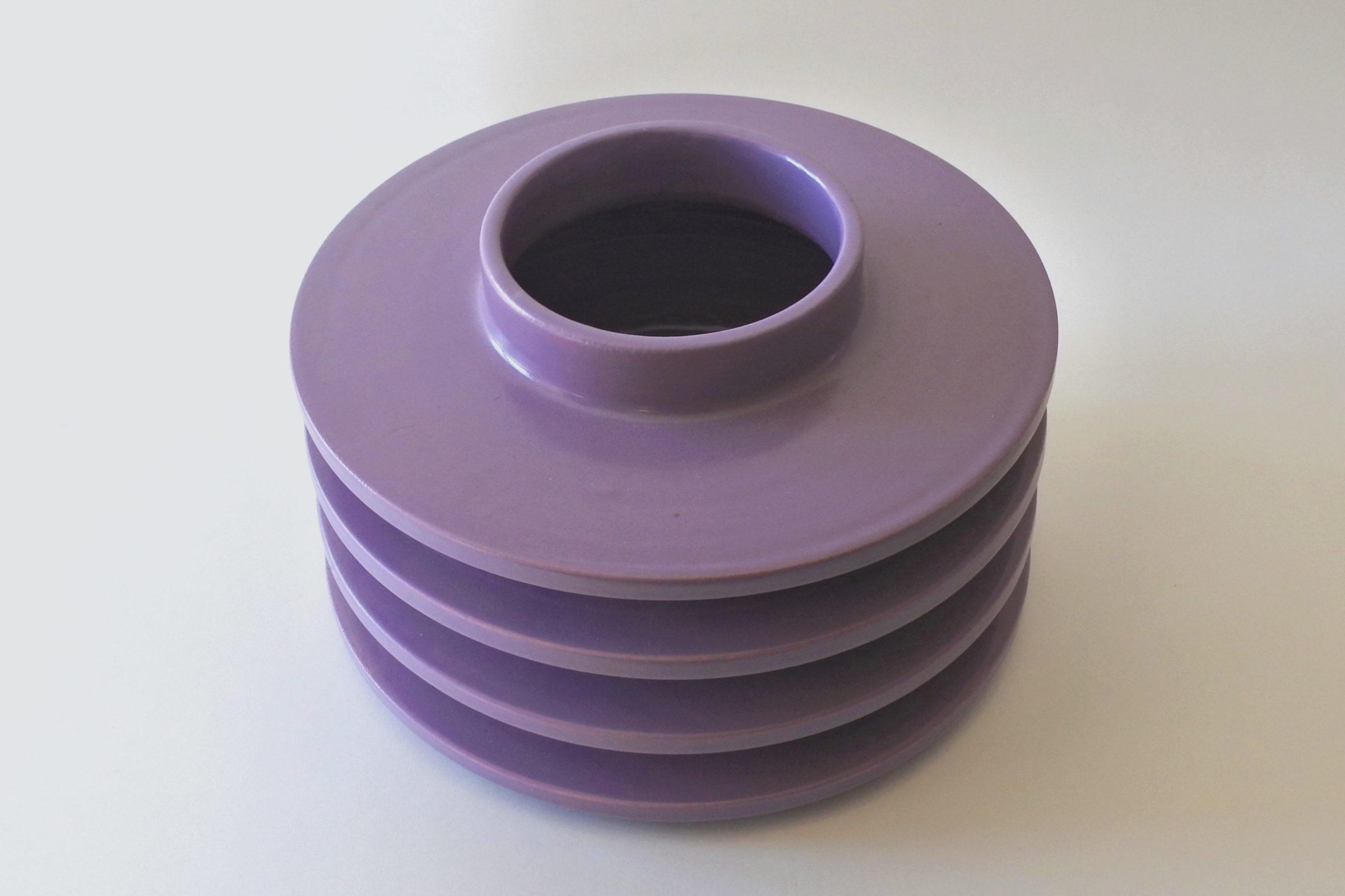 Vaso isolatore in ceramica viola - E. Sottsass per ceramiche Bitossi - 2