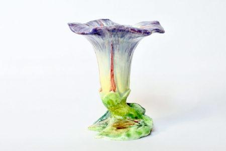 Vaso in ceramica barbotine a forma di convolvolo - Delphin Massier