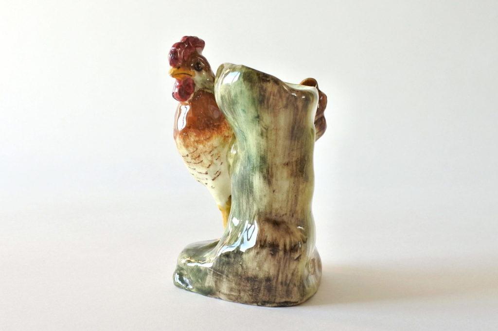 Jardinière di Delphin Massier in ceramica barbotine a forma di gallina