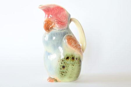 Brocca Sarreguemines Esdeve in ceramica barbotine a forma di civetta