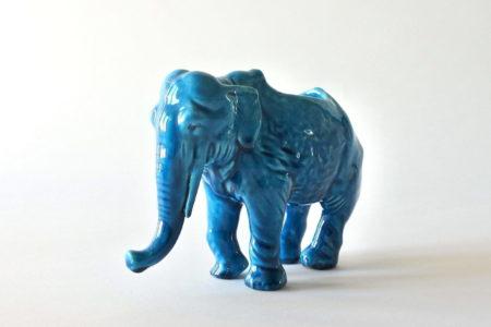 Jardinière Massier in ceramica barbotine a forma di elefante