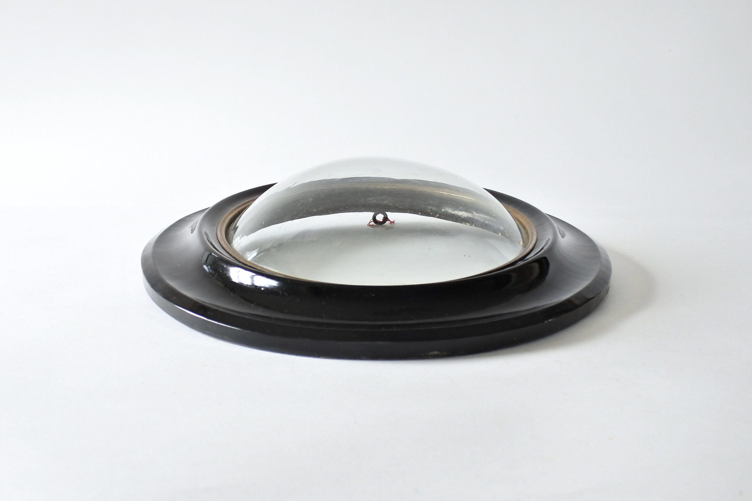 Cornice ovale in legno ebanizzato con vetro soffiato bombato - 3