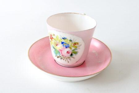 Tazzina antica da caffè in porcellana Vecchia Parigi con fiori